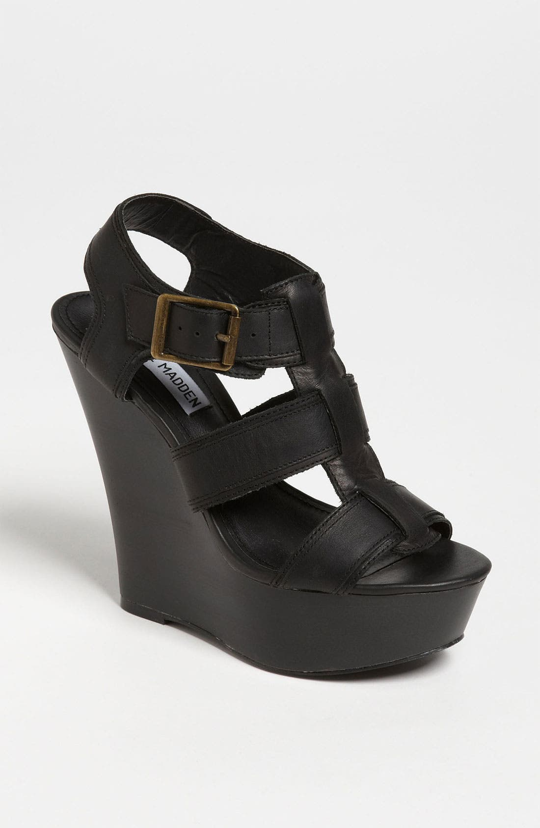 STEVE MADDEN,                             'Wanting' Wedge Sandal,                             Main thumbnail 1, color,                             001