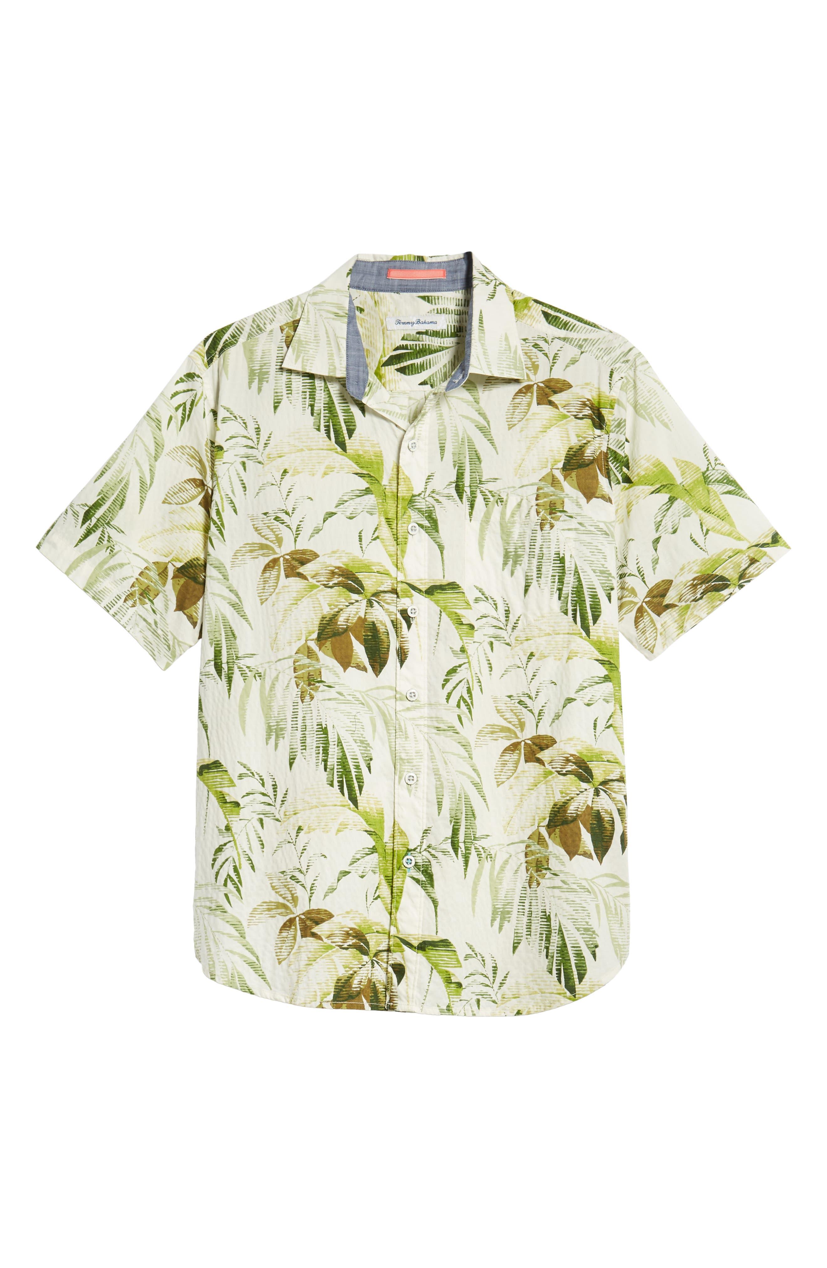 Don't Leaf Me Now Regular Fit Tropical Print Sport Shirt,                             Alternate thumbnail 5, color,                             COCONUT CREAM