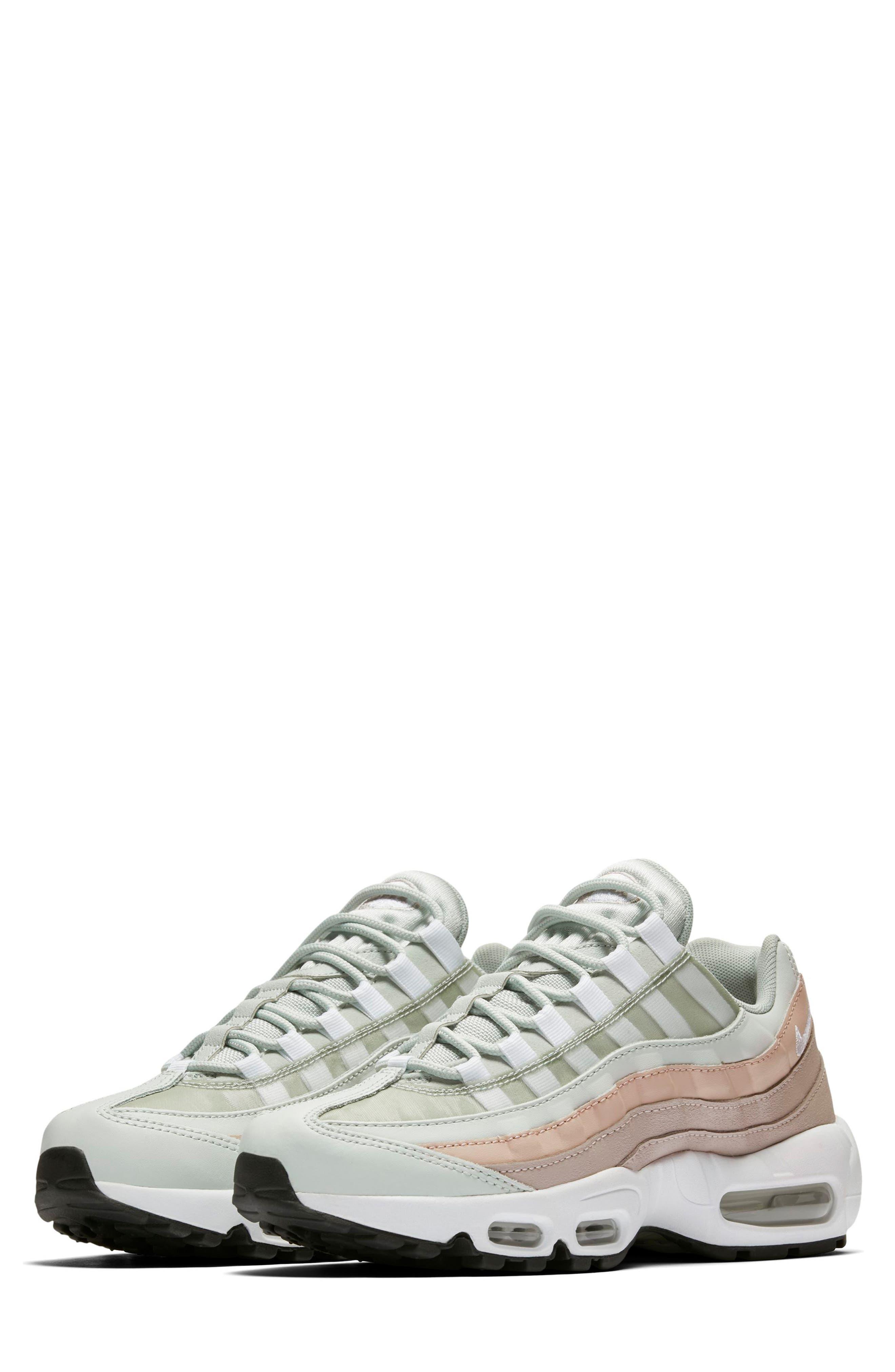 NIKE,                             Air Max 95 Running Shoe,                             Main thumbnail 1, color,                             SILVER/ WHITE/ MOON PARTICLE