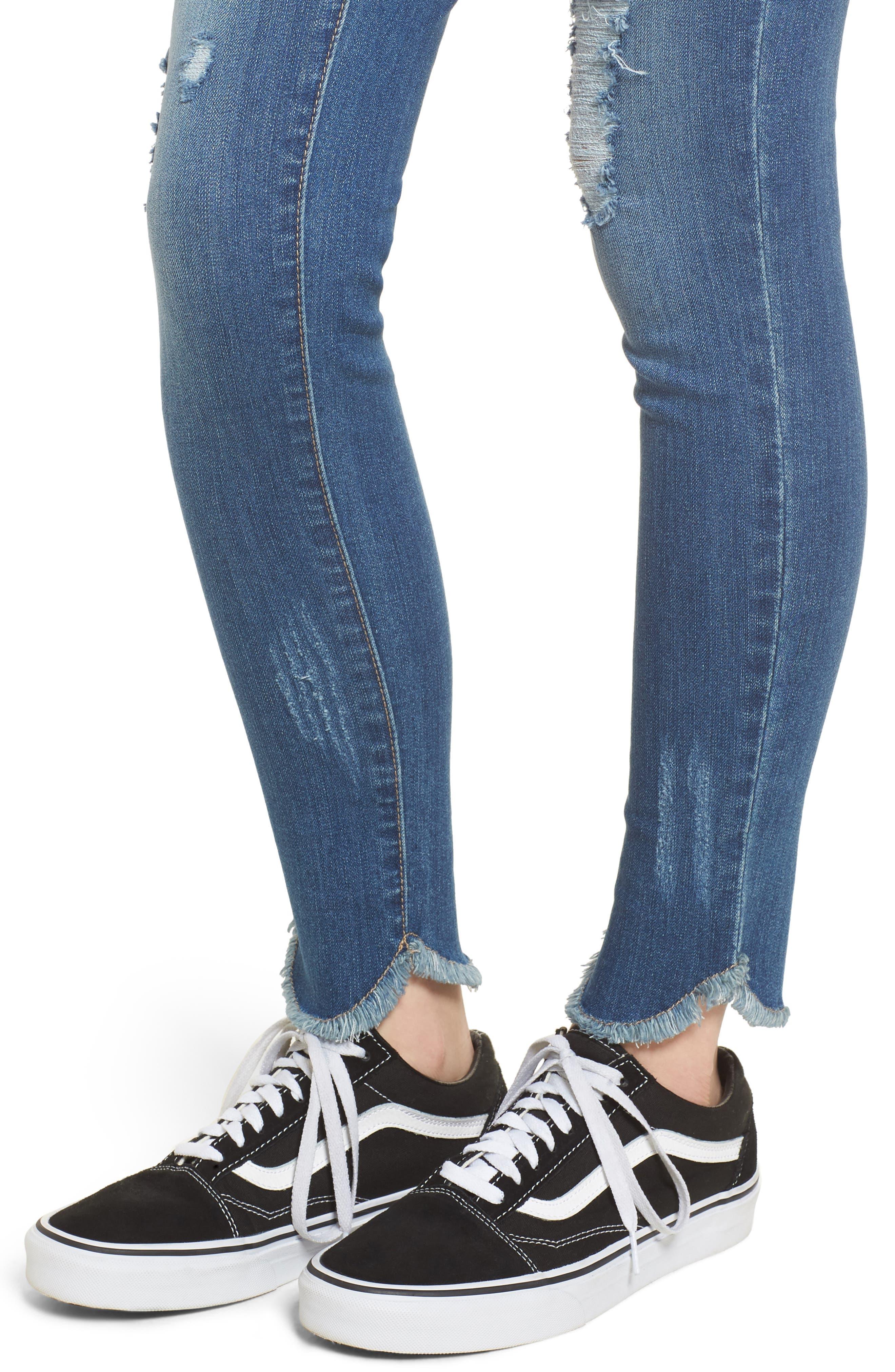 Raw Edge Skinny Jeans,                             Alternate thumbnail 4, color,                             426