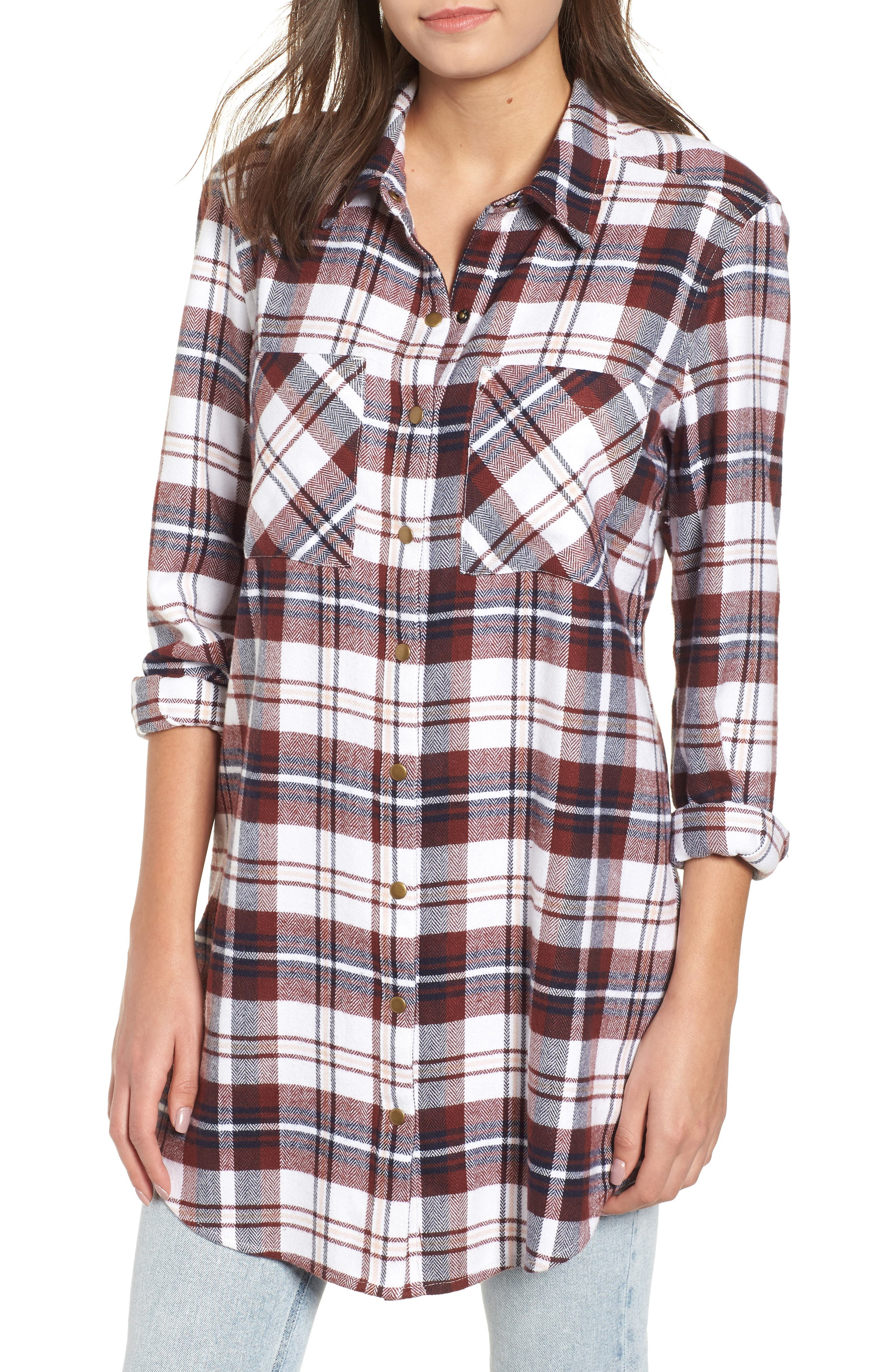 Plaid Flannel Tunic,                             Main thumbnail 1, color,                             IVORY CAMEL PLAID