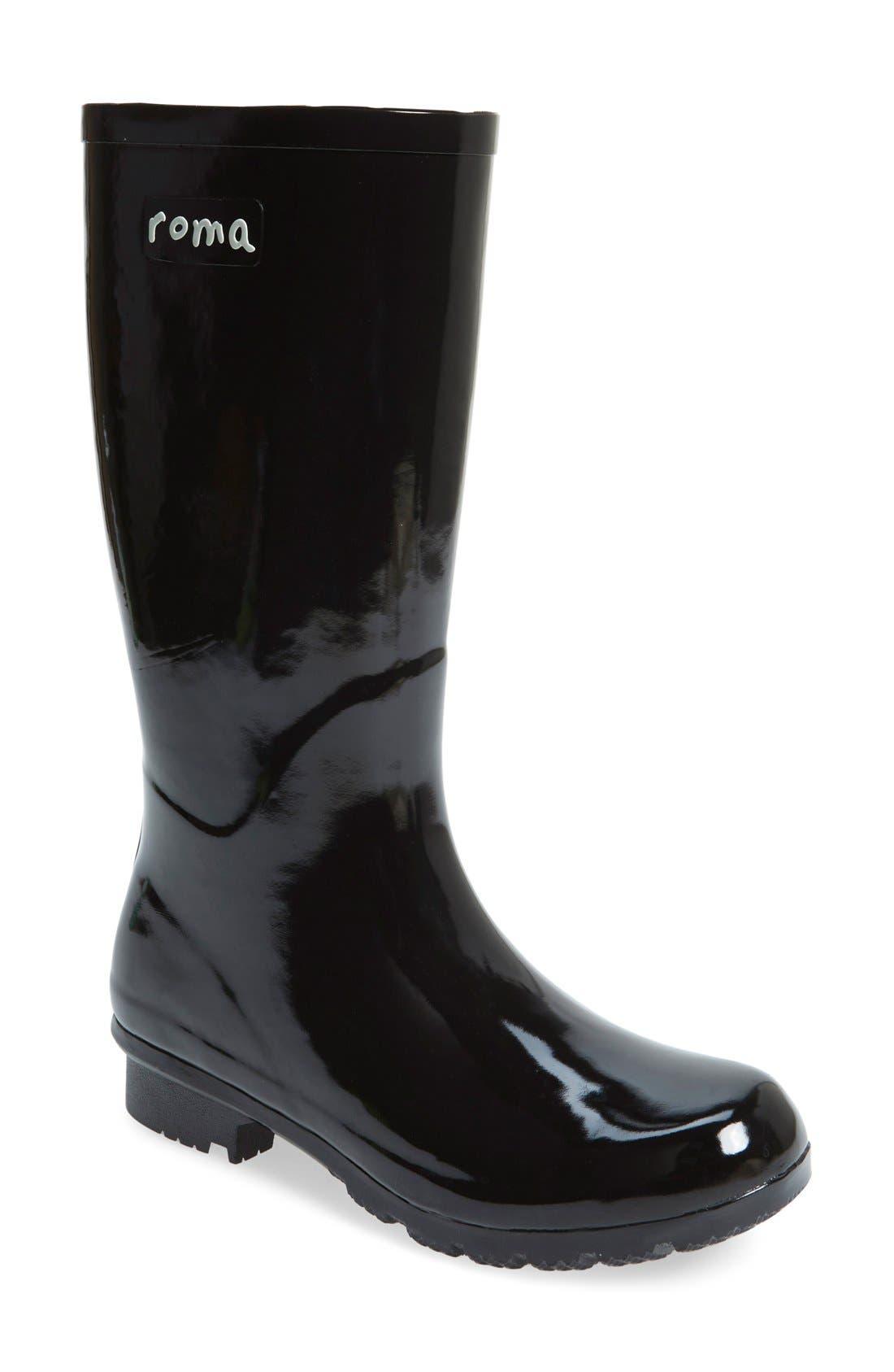 'Emma - Short' Glossy Rain Boot,                             Main thumbnail 1, color,