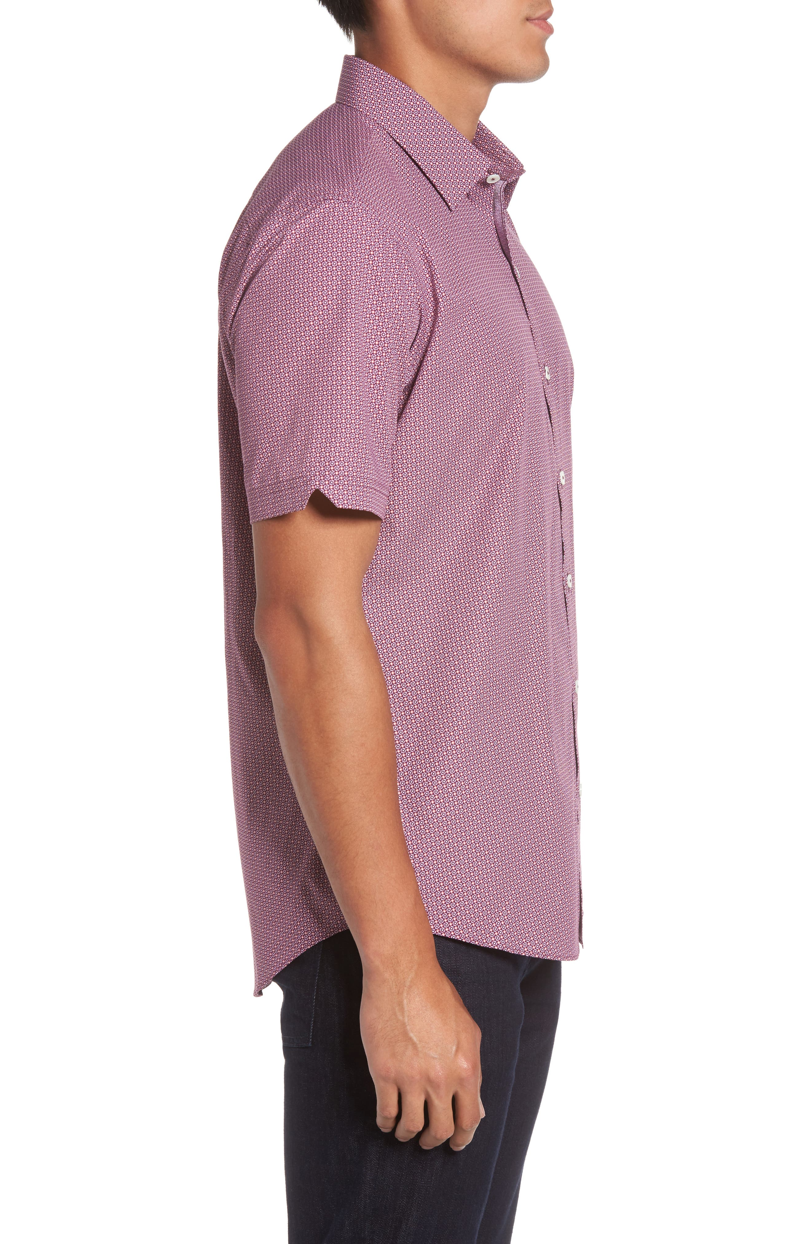 Riddle Slim Fit Print Sport Shirt,                             Alternate thumbnail 3, color,