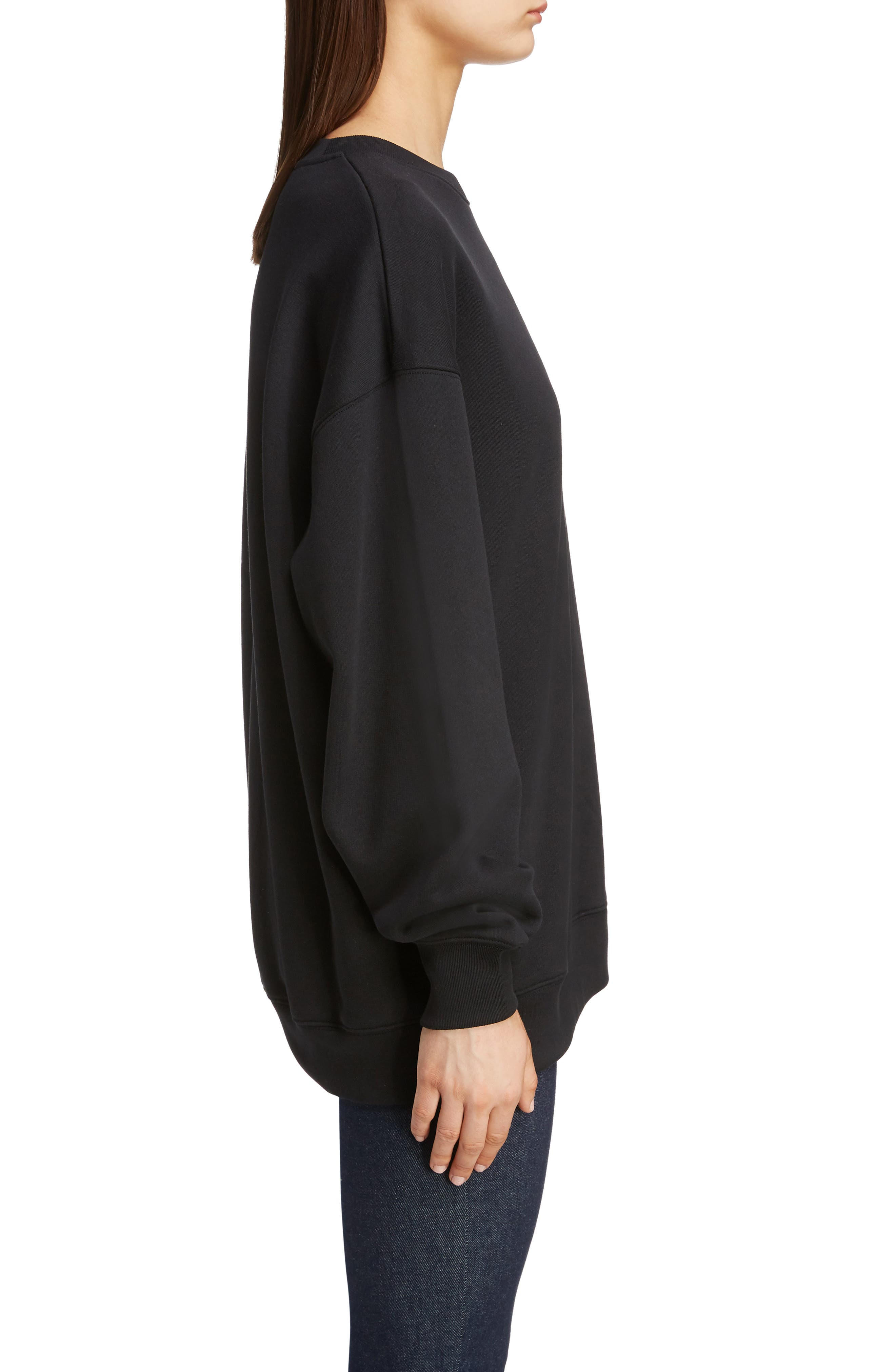 ACNE STUDIOS,                             Forba Face Sweatshirt,                             Alternate thumbnail 3, color,                             BLACK