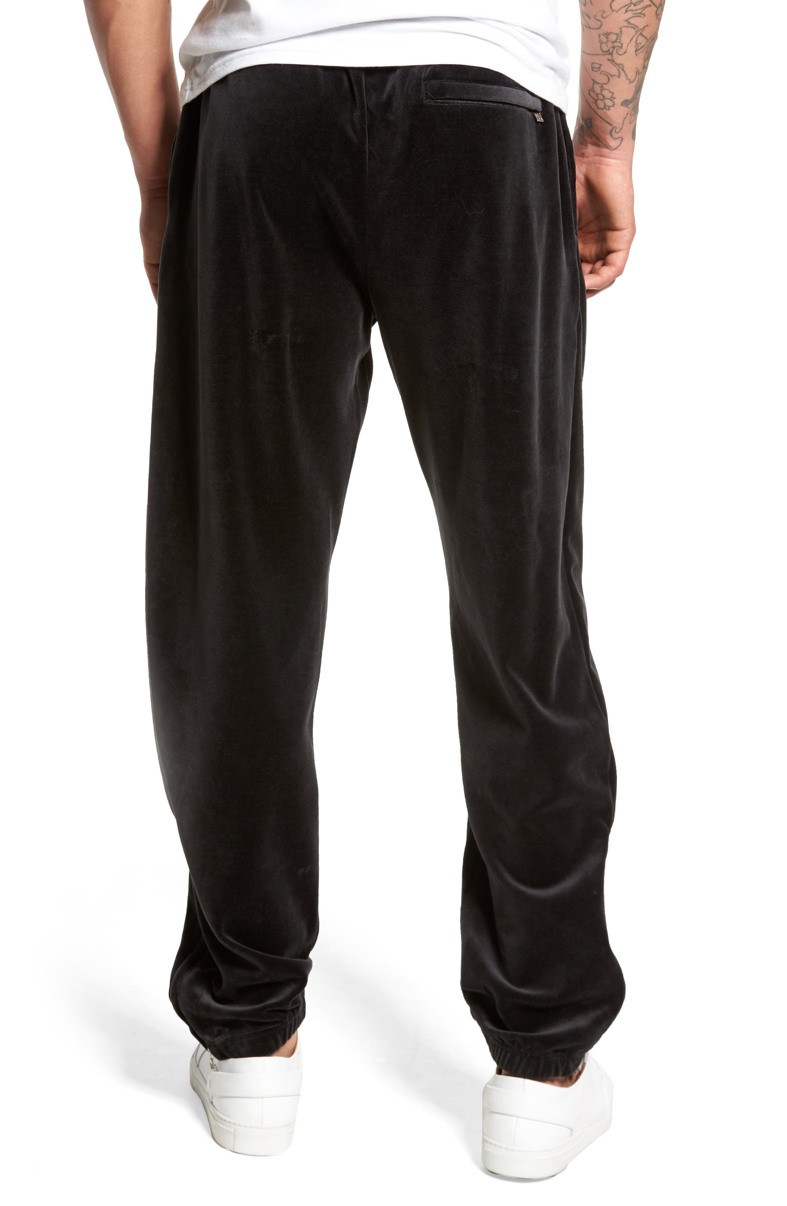 USA Slim Fit Velour Track Pants,                             Alternate thumbnail 2, color,                             001