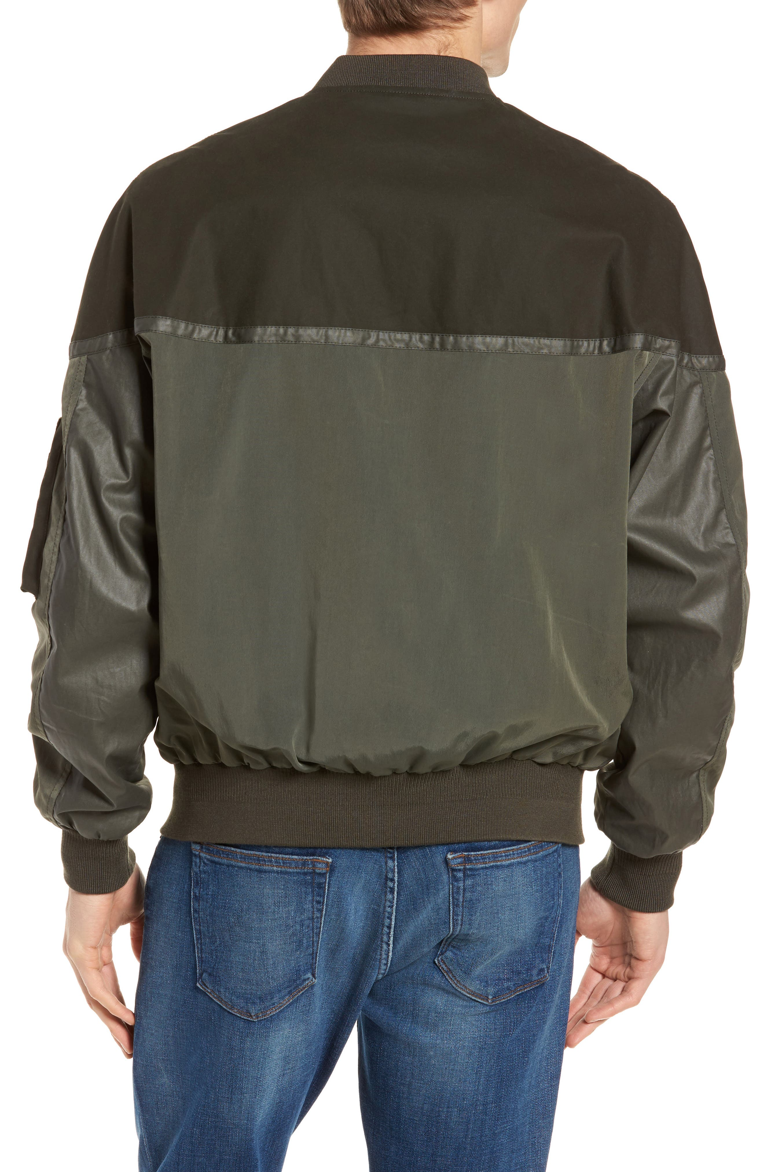 Patchwork Waxed Bomber Jacket,                             Alternate thumbnail 2, color,                             300