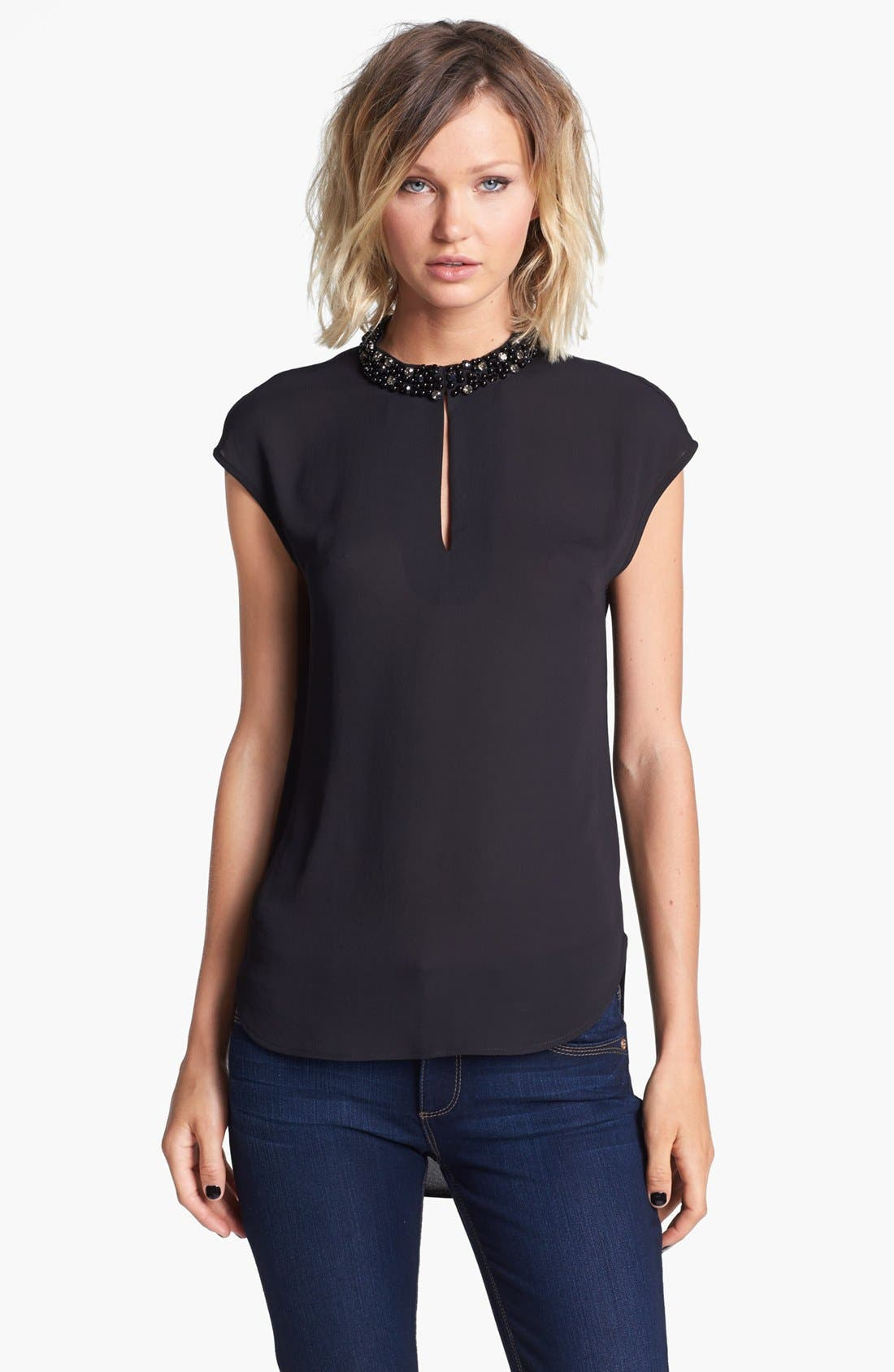 Embellished Collar High/Low Top,                             Main thumbnail 1, color,                             001