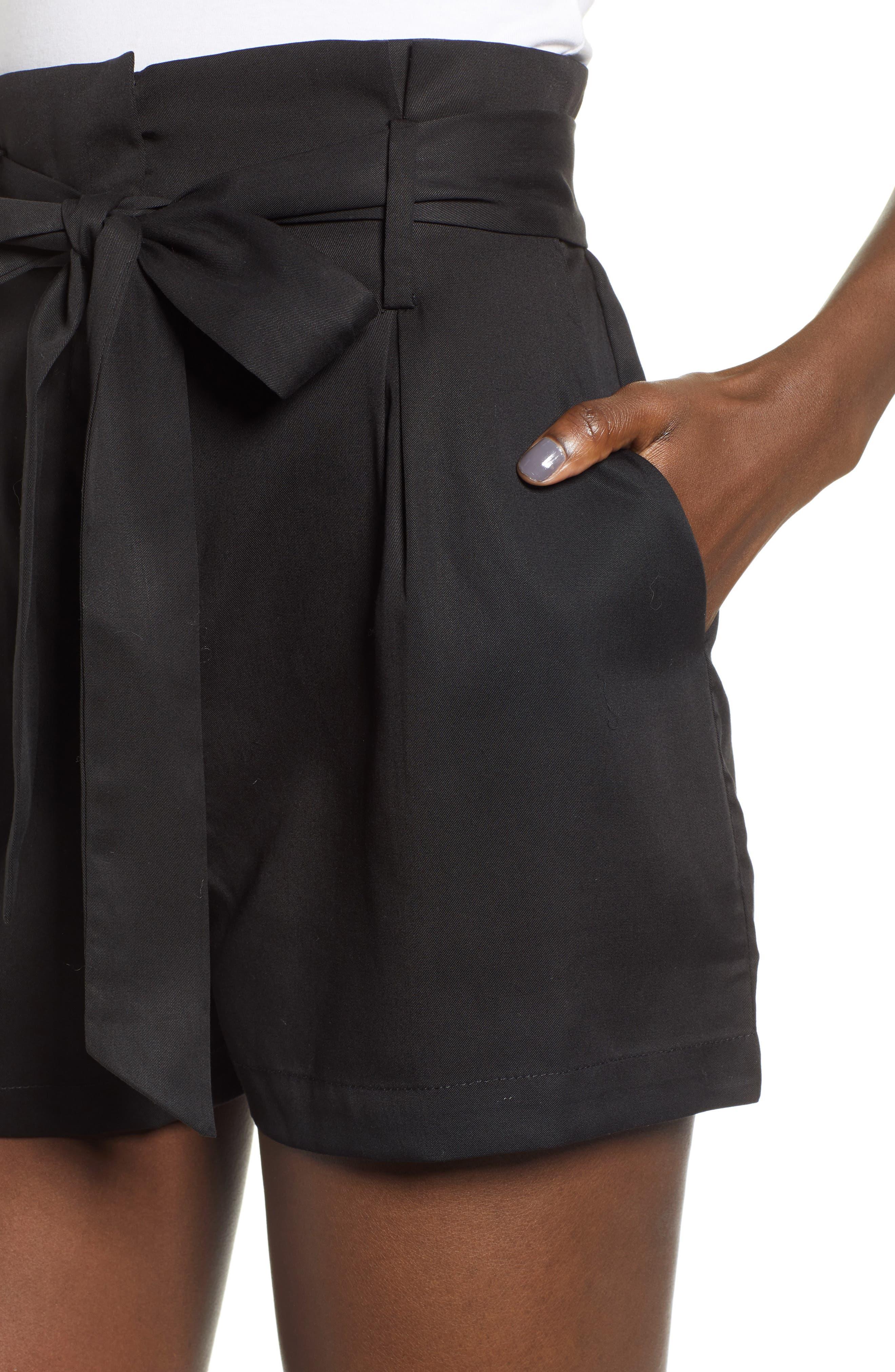 Tie Front Shorts,                             Alternate thumbnail 5, color,                             BLACK