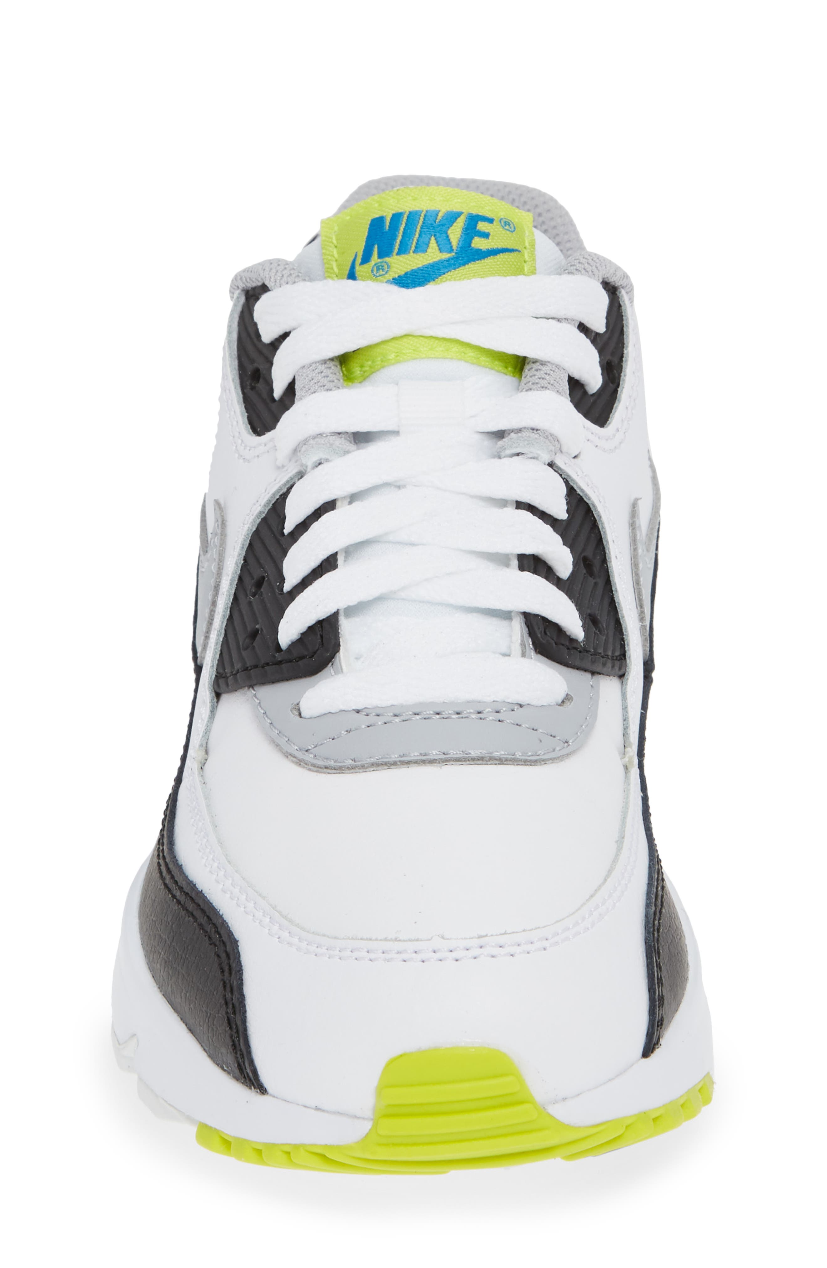 Air Max 90 Sneaker,                             Alternate thumbnail 4, color,                             WHITE/ WOLF GREY/ BLUE