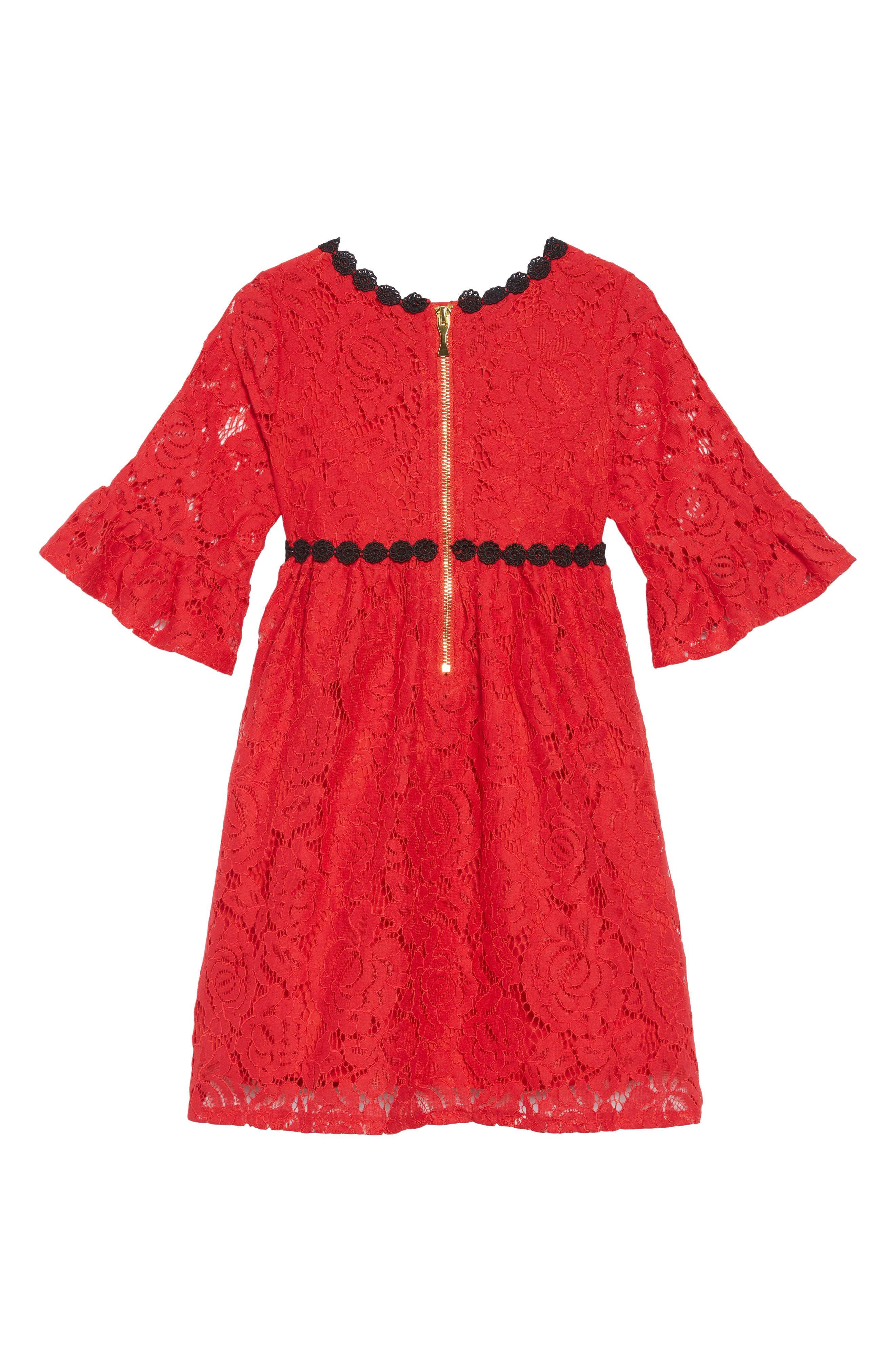 alençon lace party dress,                             Alternate thumbnail 2, color,                             DEEP RED
