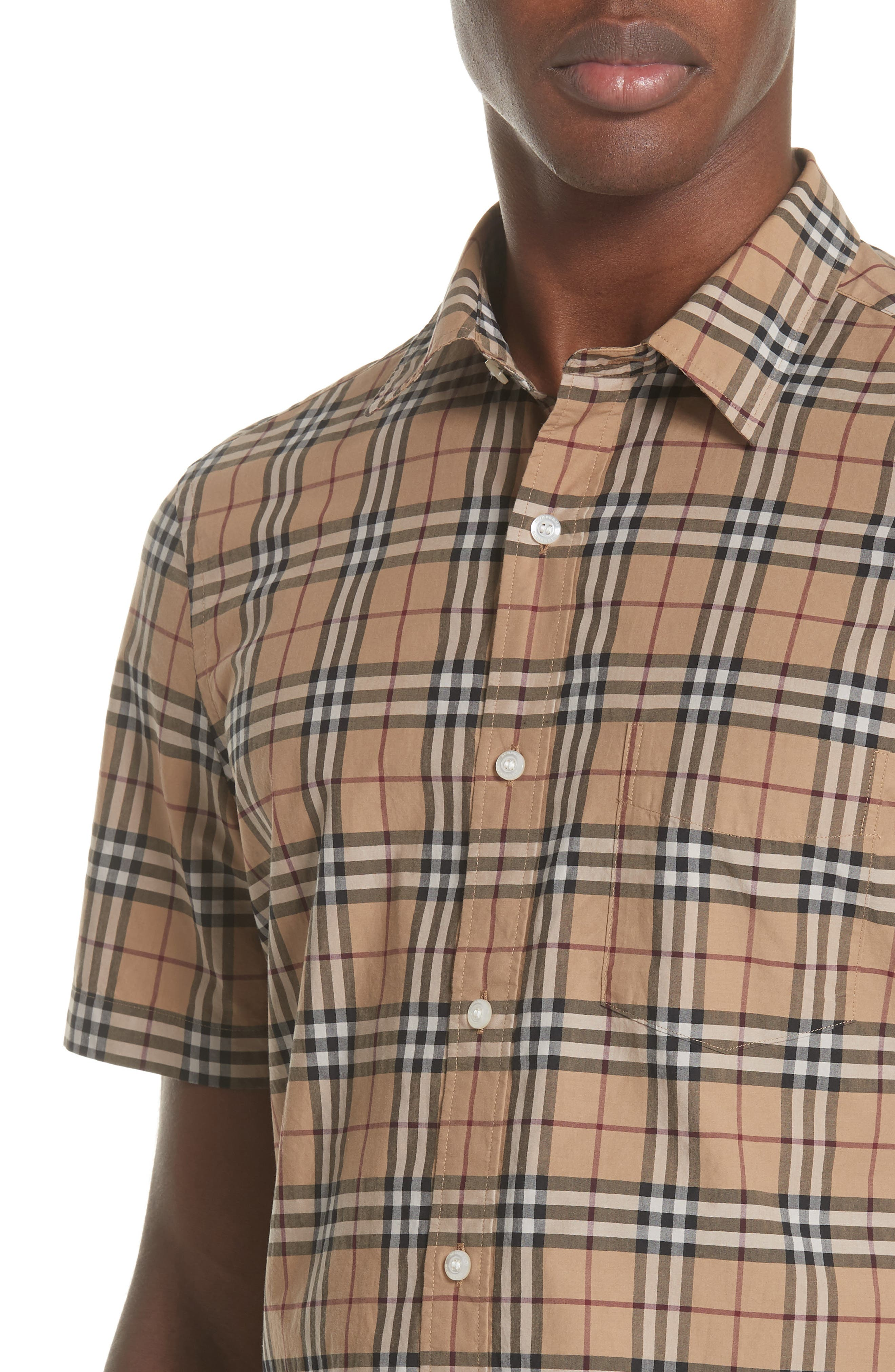 Alexander Check Sport Shirt,                             Alternate thumbnail 4, color,                             CAMEL