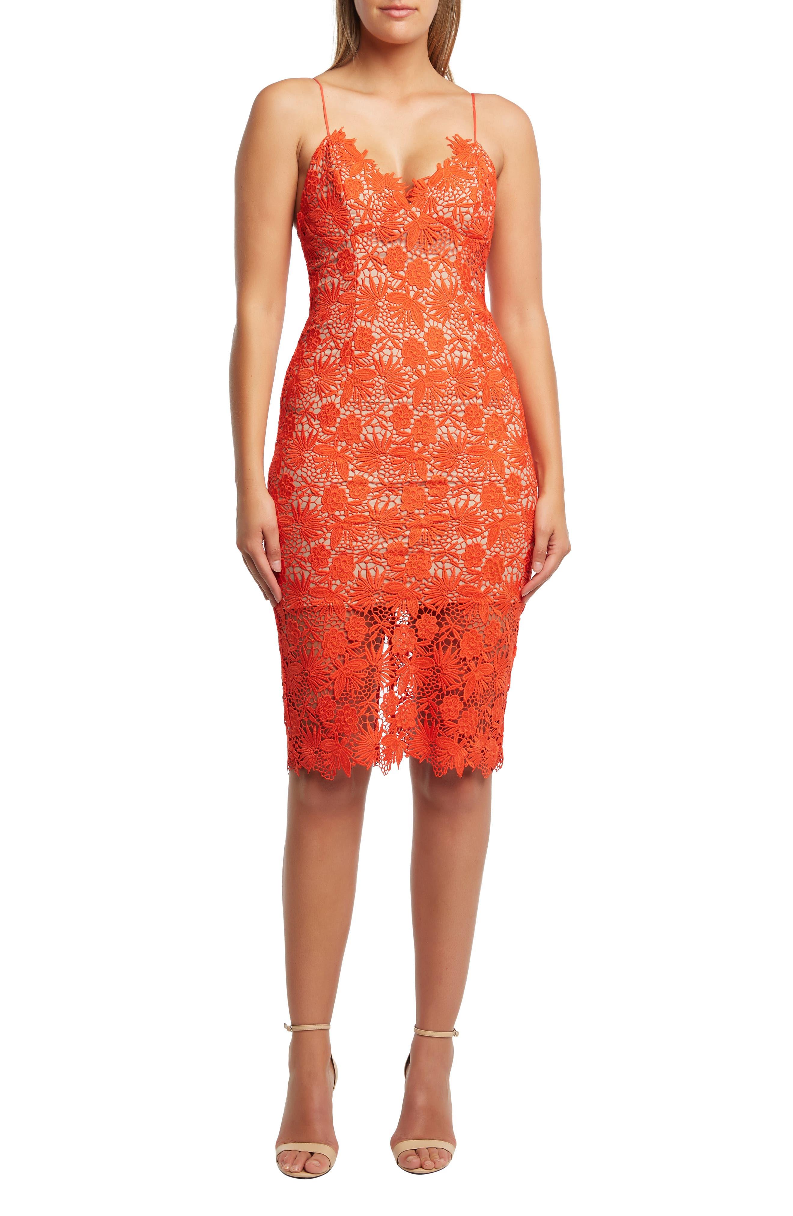 Bardot Tayla Lace Cocktail Dress, Orange