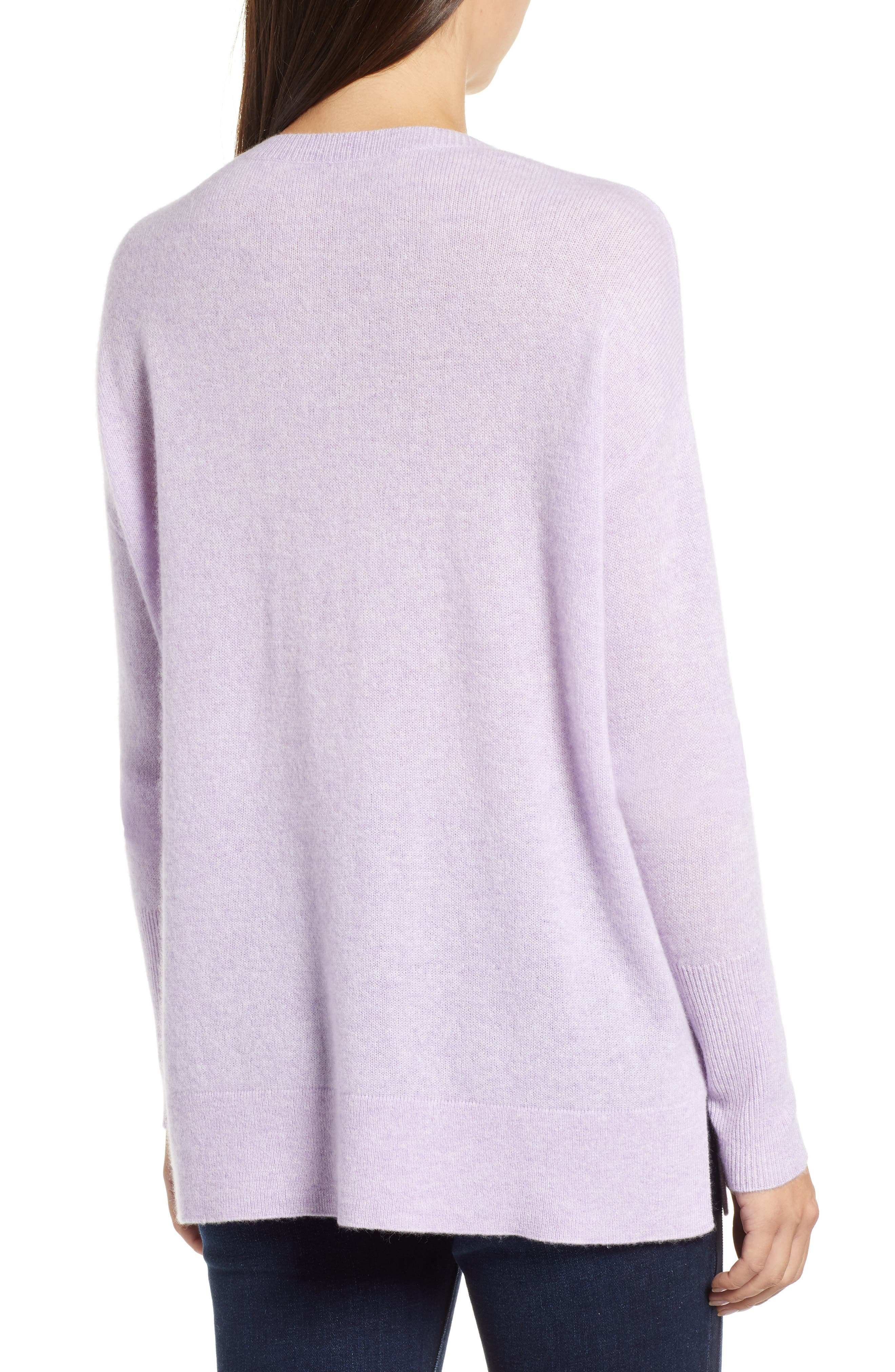 Relaxed V-Neck Cashmere Sweater,                             Alternate thumbnail 2, color,                             LAVENDER SWEET