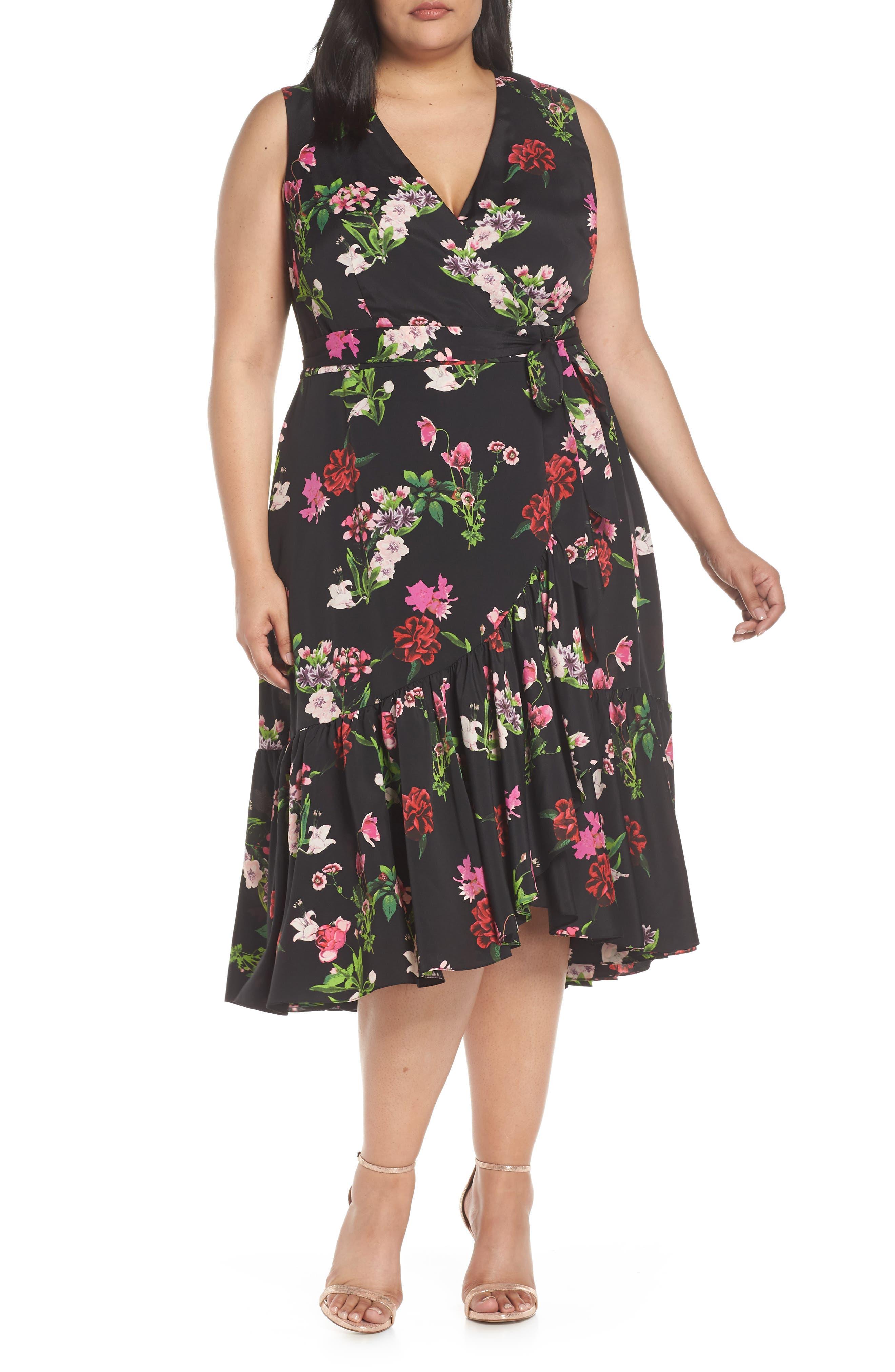 Plus Size Eliza J Ruffle Hem Faux Wrap Dress, Black