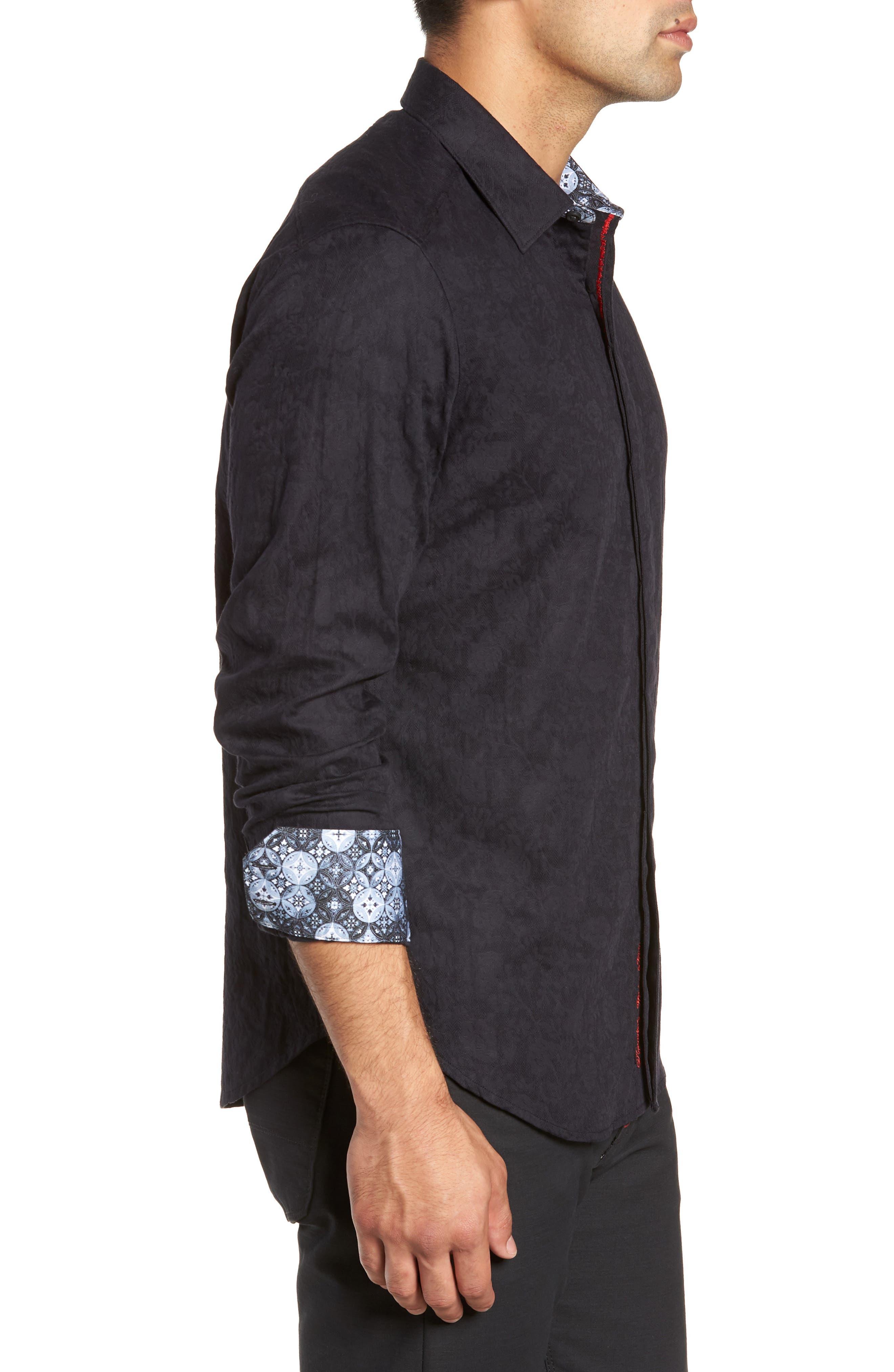 Nicholls Classic Fit Sport Shirt,                             Alternate thumbnail 4, color,                             BLACK
