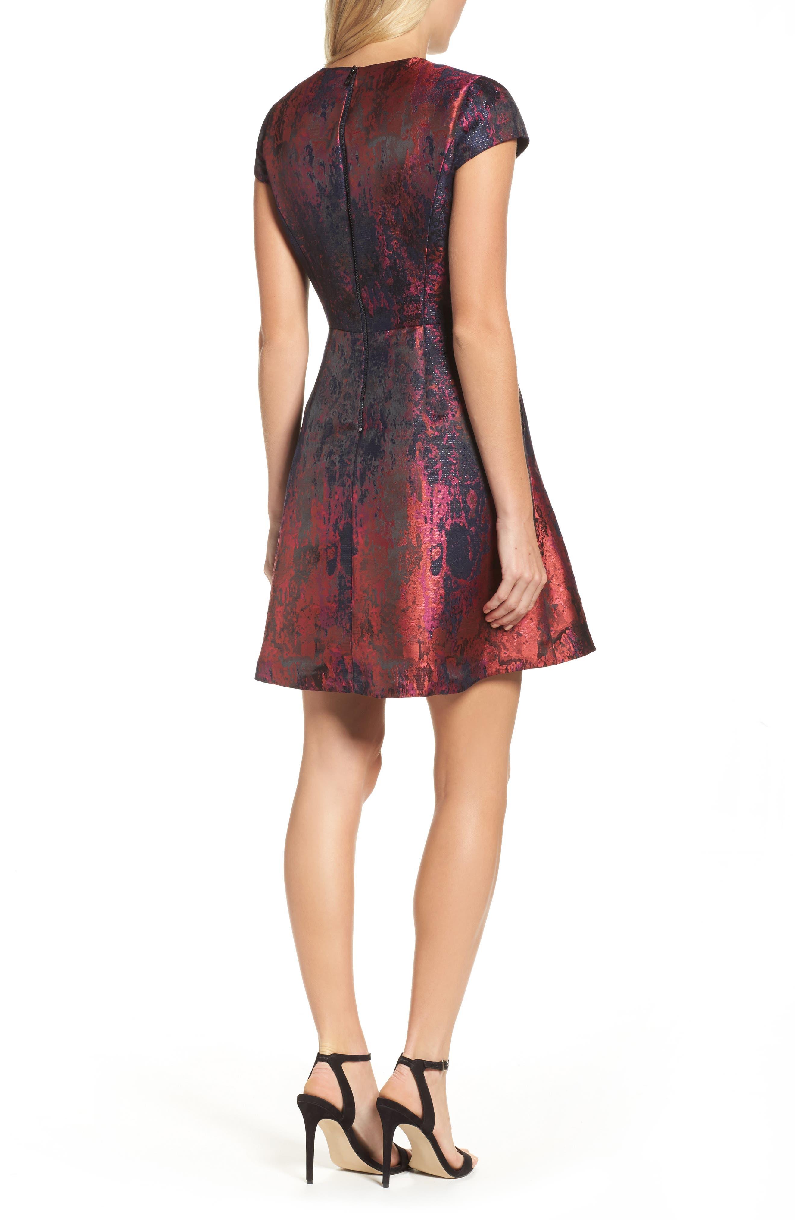 Jacquard Fit & Flare Dress,                             Alternate thumbnail 2, color,                             670