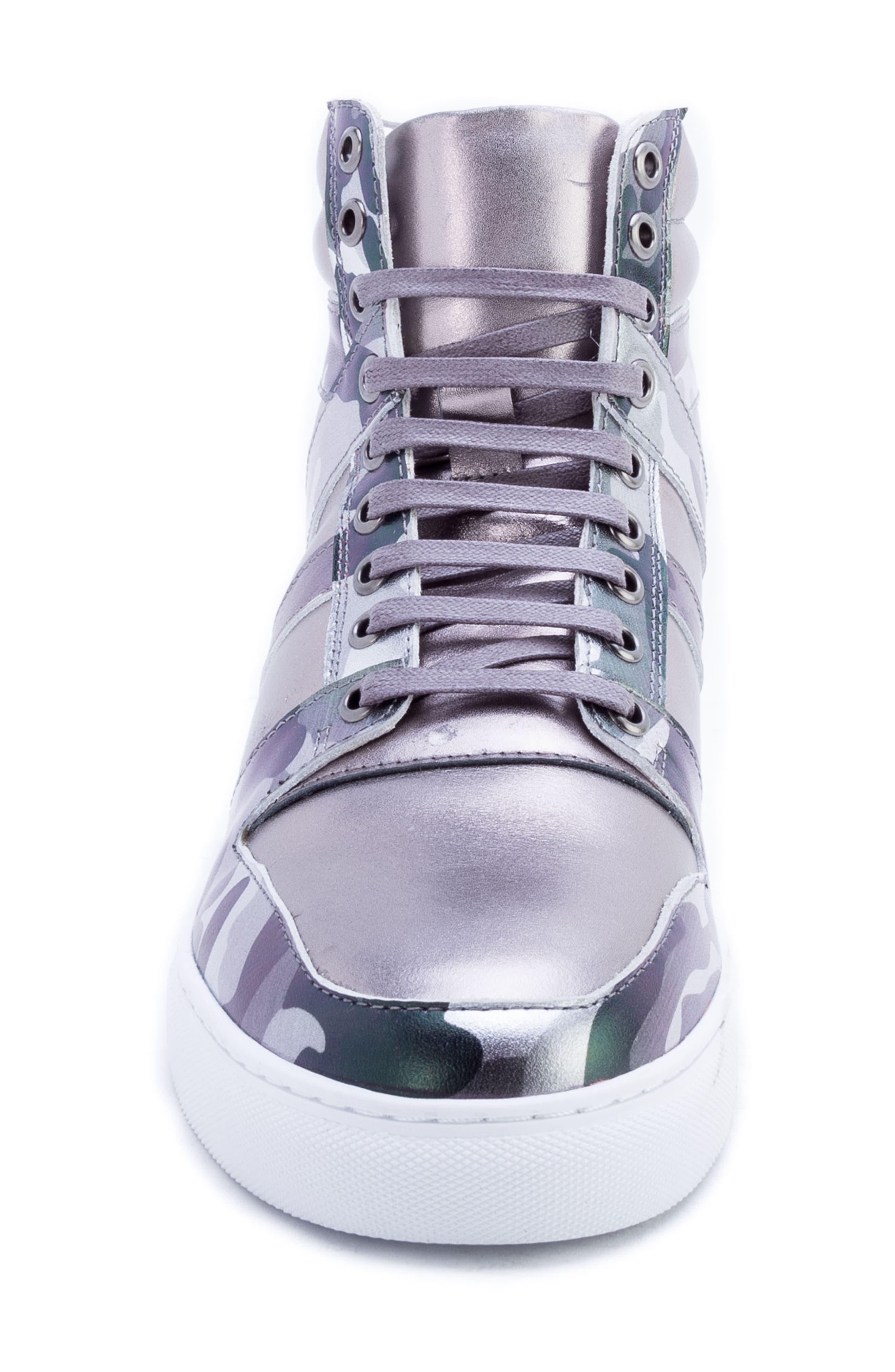 Badgley Mischka Sutherland Sneaker,                             Alternate thumbnail 4, color,                             GREY LEATHER