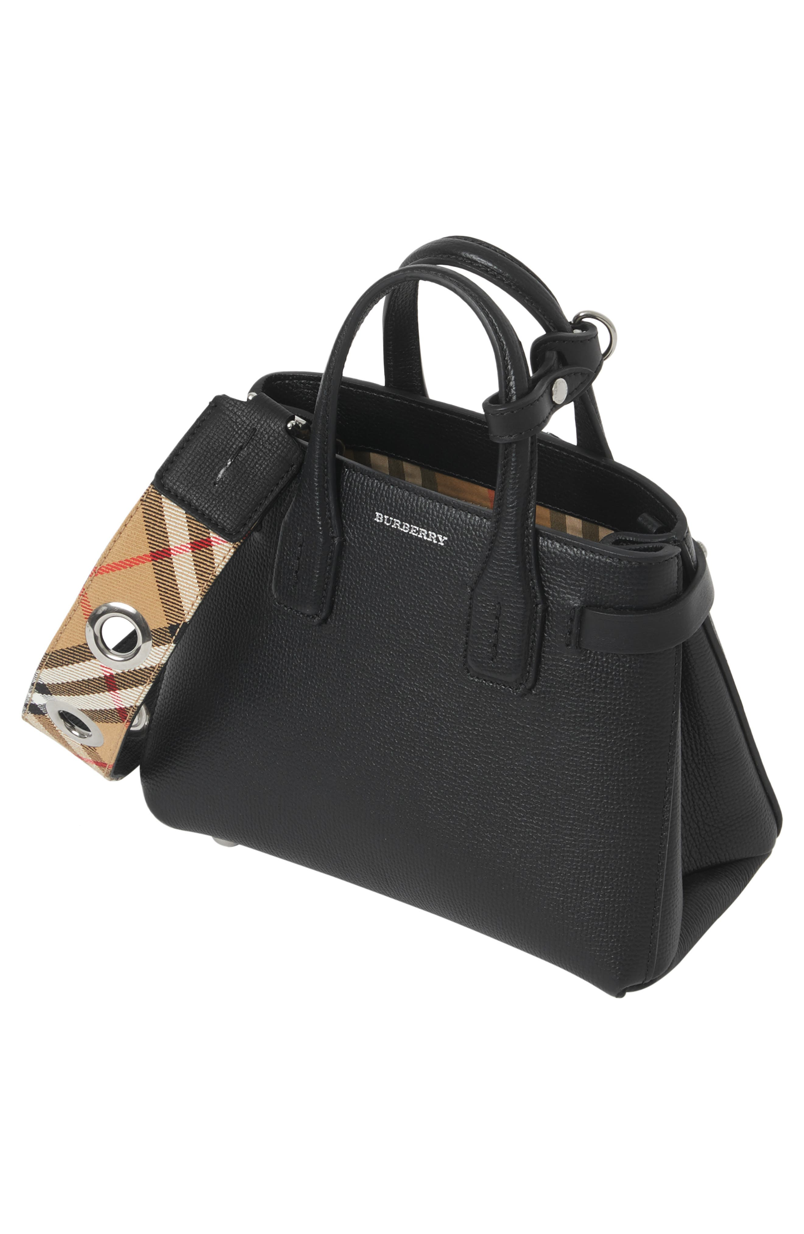 BURBERRY,                             Baby Banner Leather Satchel,                             Alternate thumbnail 3, color,                             BLACK