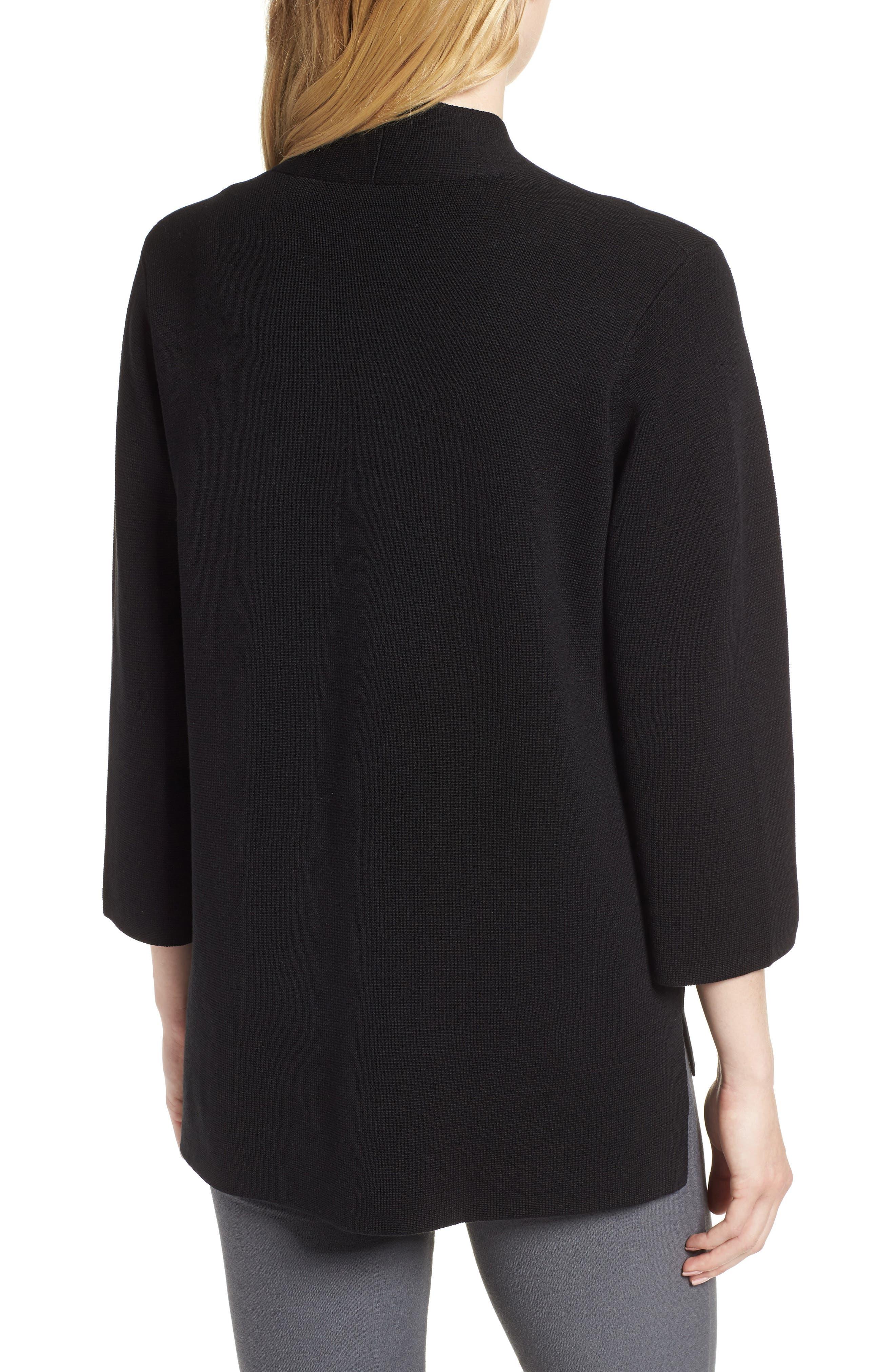 Stand Collar Silk & Organic Cotton Cardigan,                             Alternate thumbnail 2, color,                             001