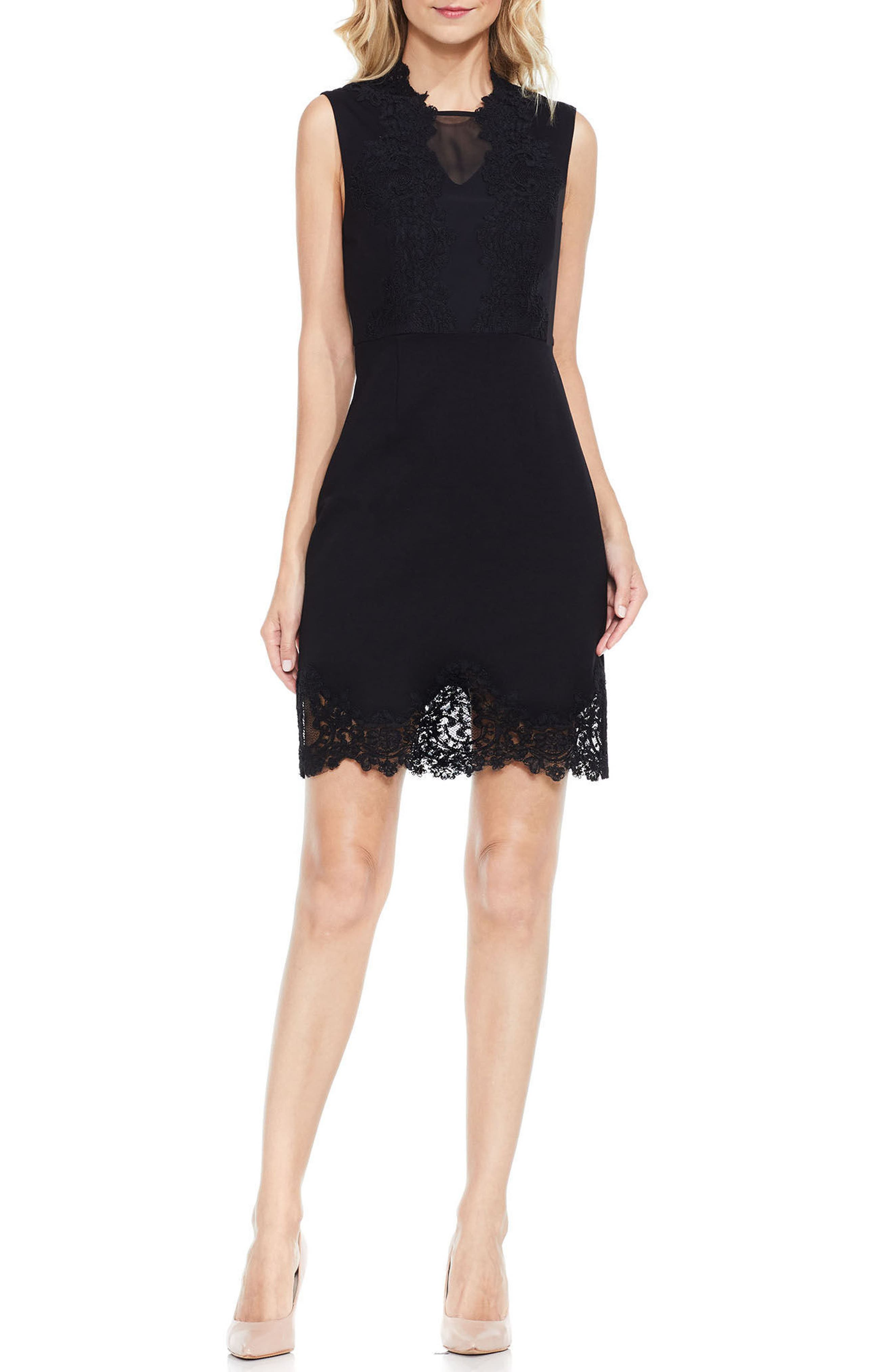 Lace Trim Sheath Dress,                             Main thumbnail 1, color,                             006