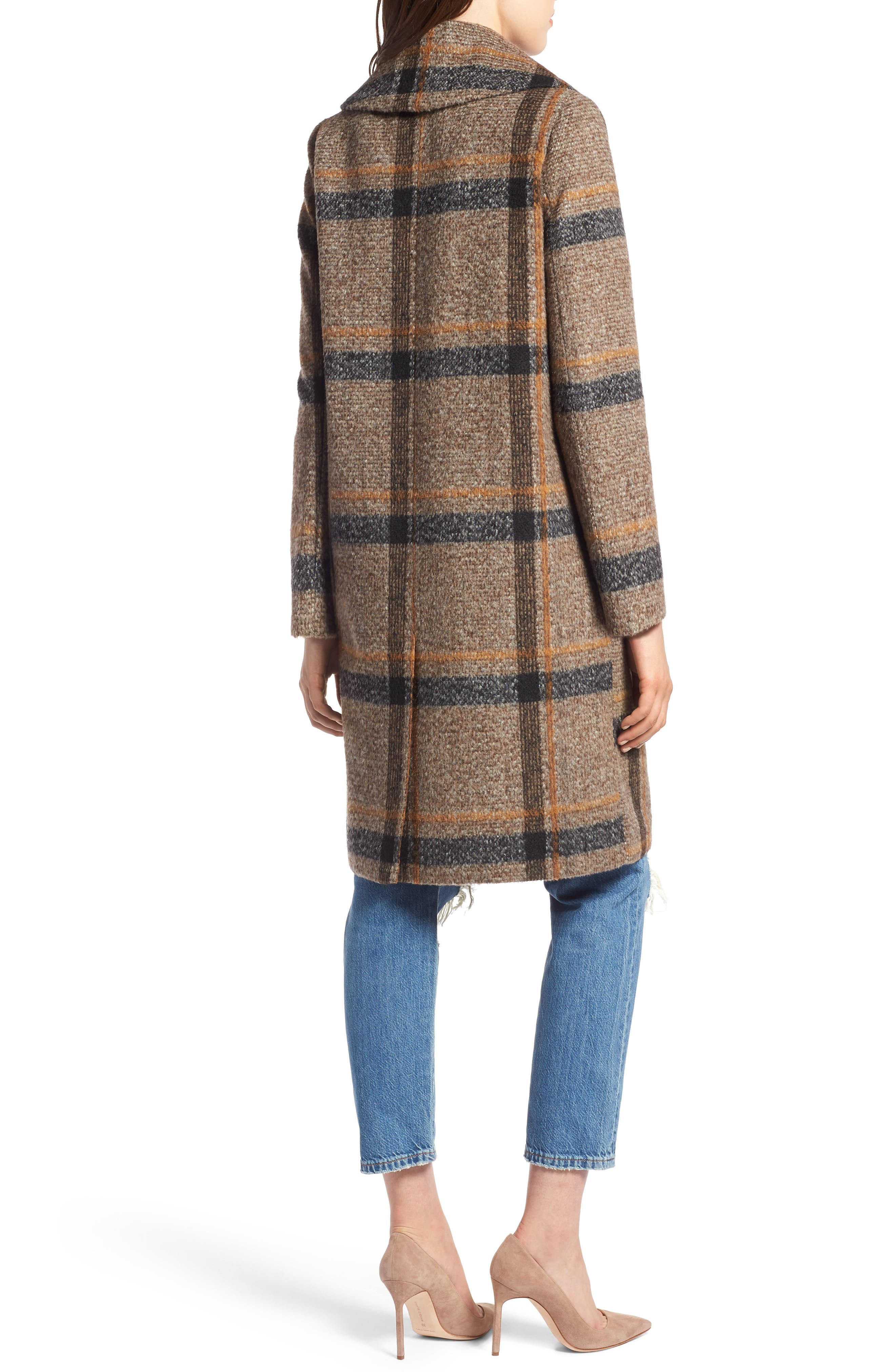 Double Breasted Coat,                             Alternate thumbnail 2, color,                             BROWN PLAID