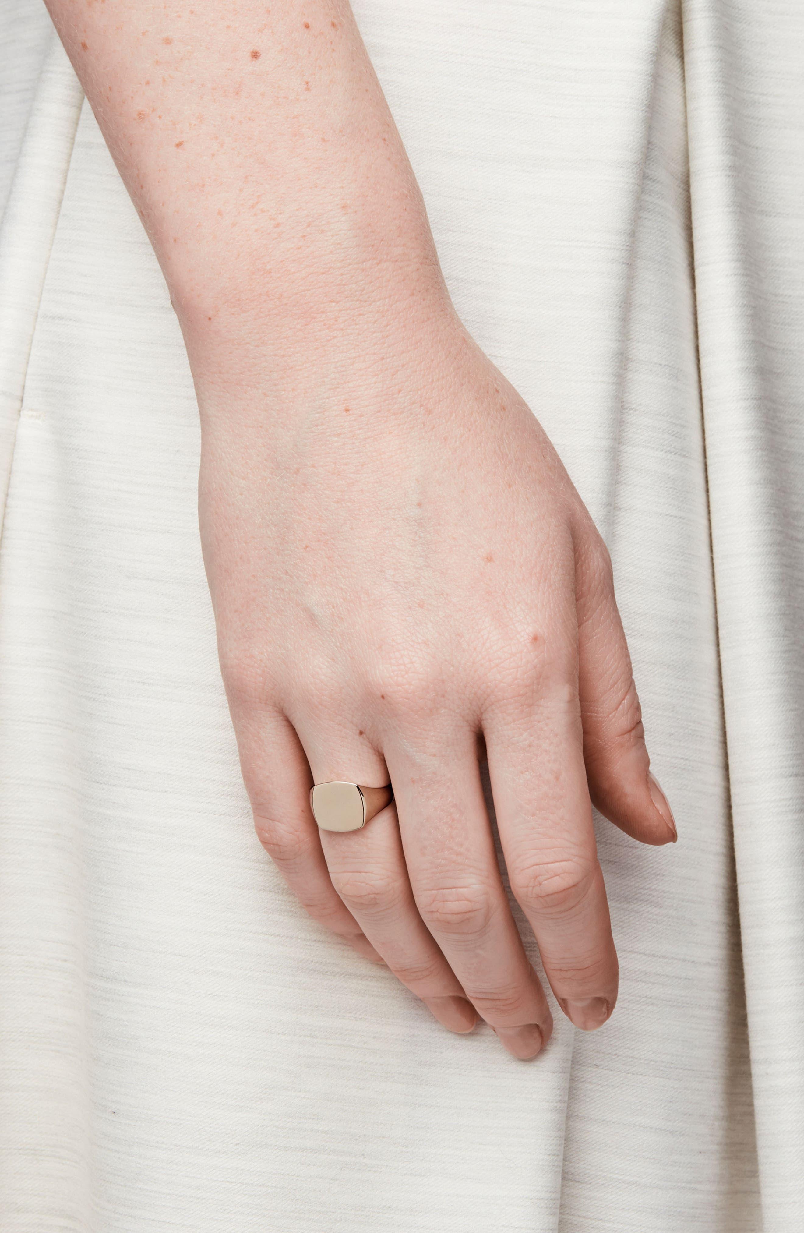 Mini Gold Cushion Signet Ring,                             Alternate thumbnail 3, color,