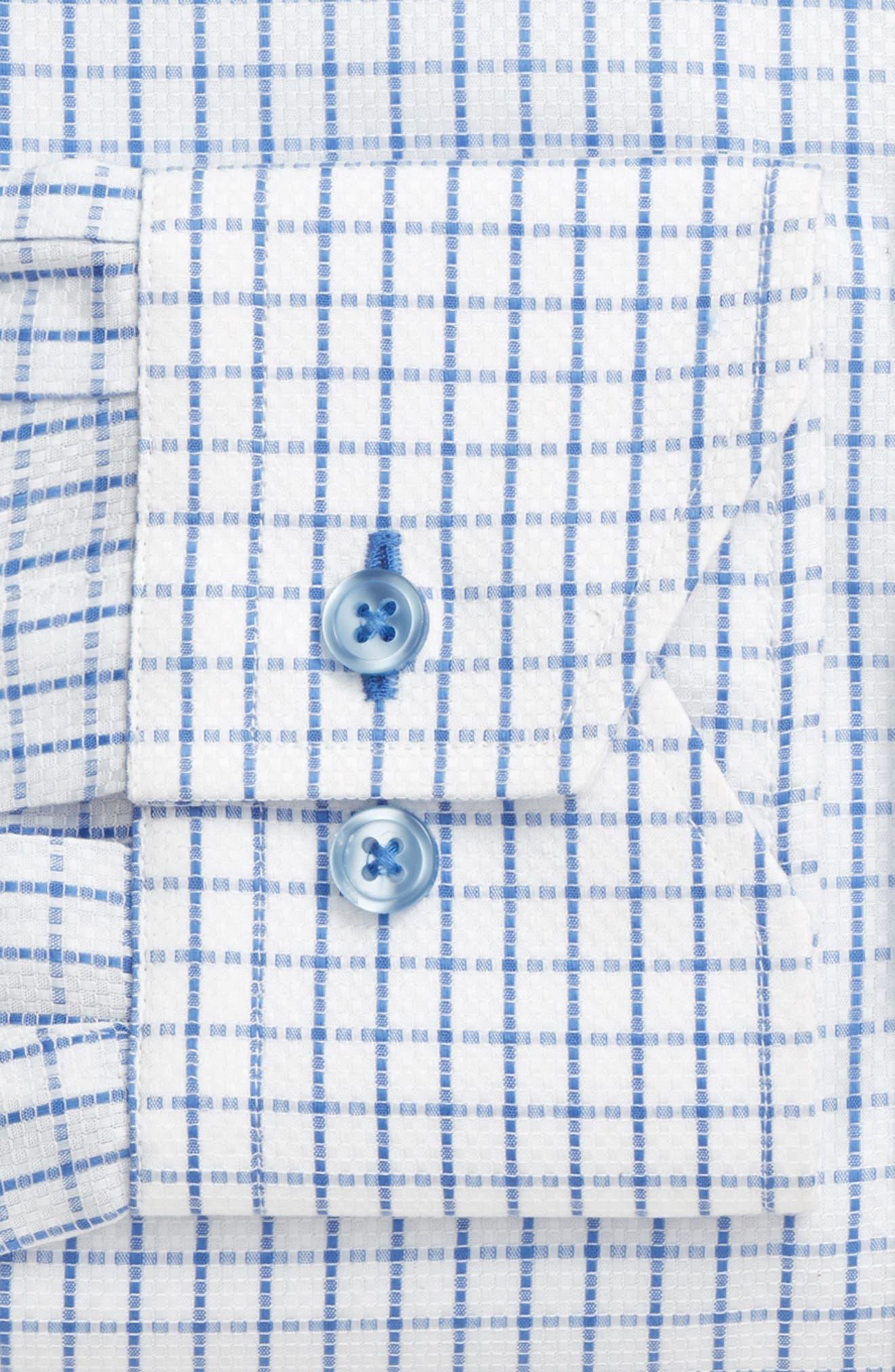 Trim Fit Textured Check Dress Shirt,                             Alternate thumbnail 4, color,                             LIGHT BLUE