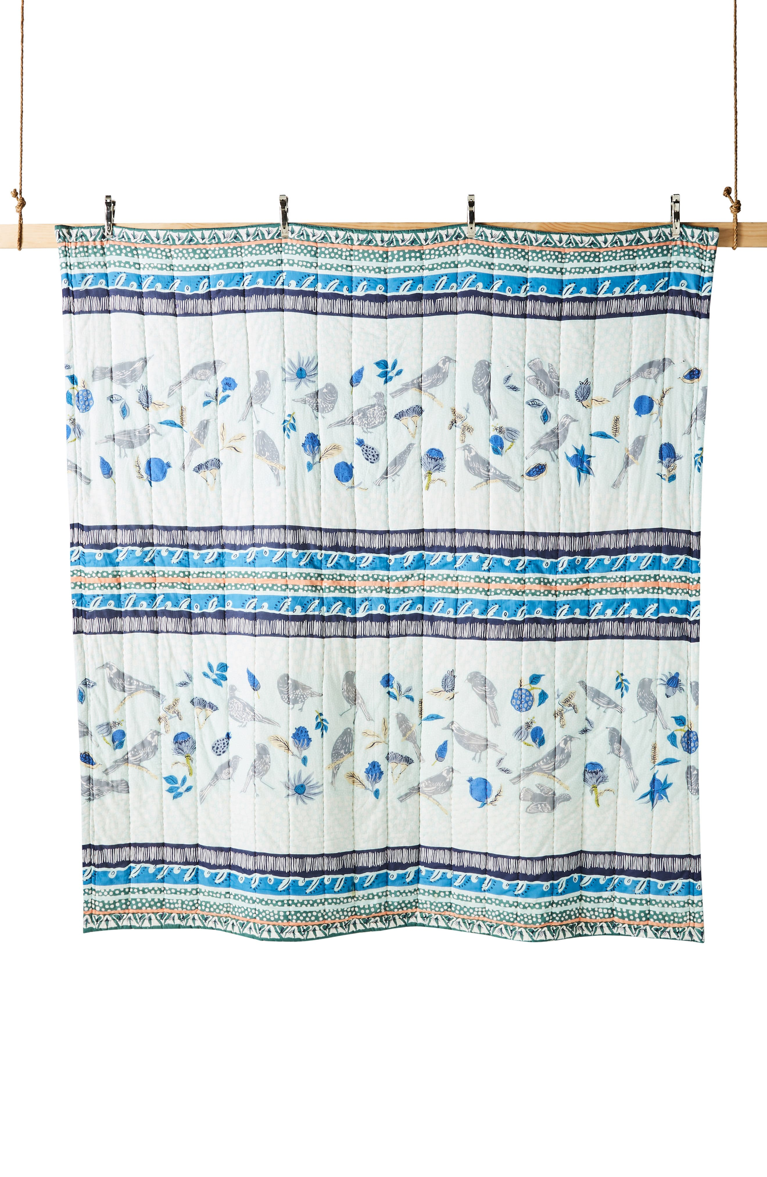 ANTHROPOLOGIE,                             Kirby Quilt,                             Alternate thumbnail 3, color,                             SKY