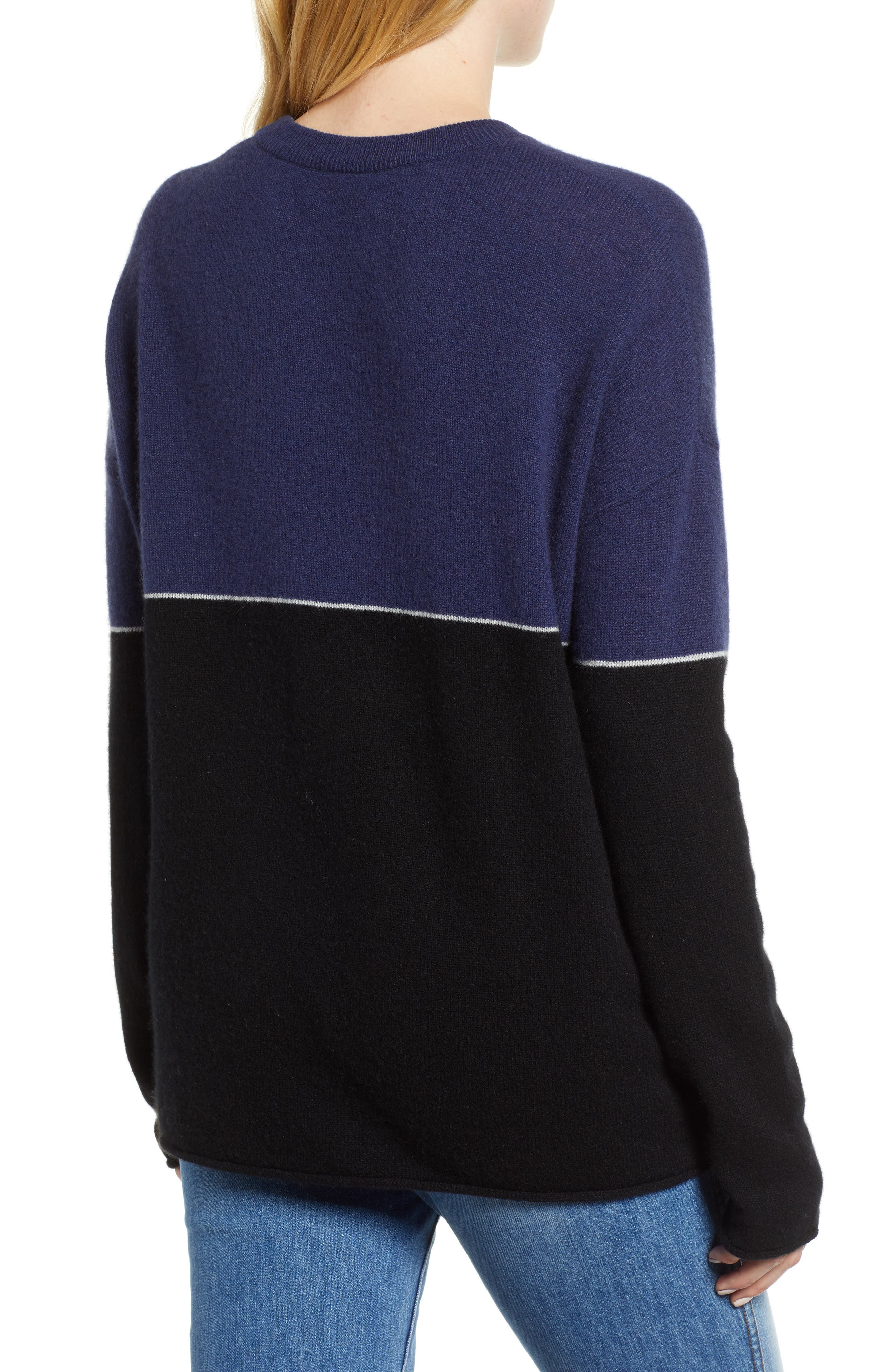 Cashmere Colorblock Sweater,                             Alternate thumbnail 2, color,                             001