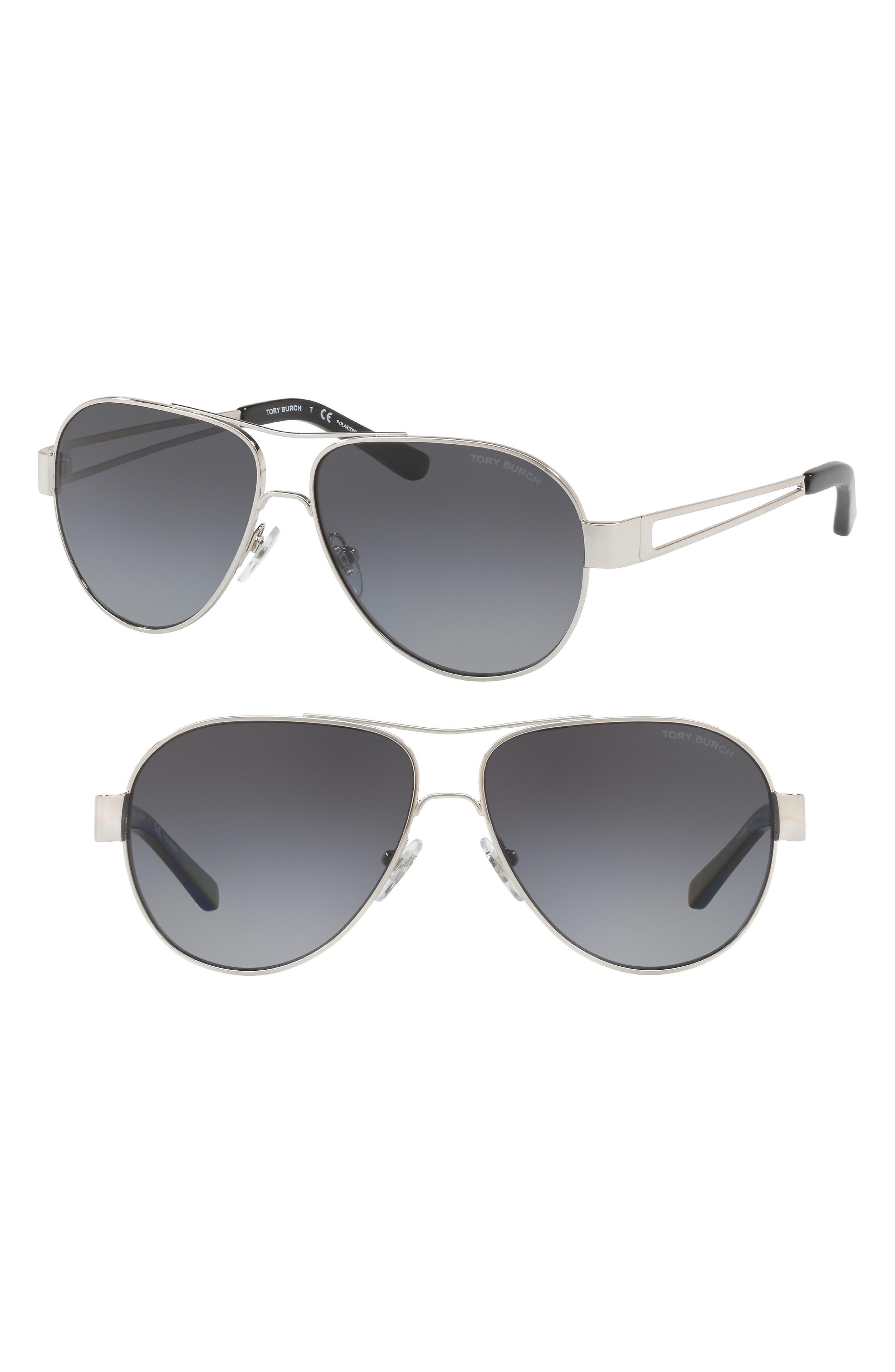 TORY BURCH,                             55mm Polarized Aviator Sunglasses,                             Main thumbnail 1, color,                             042