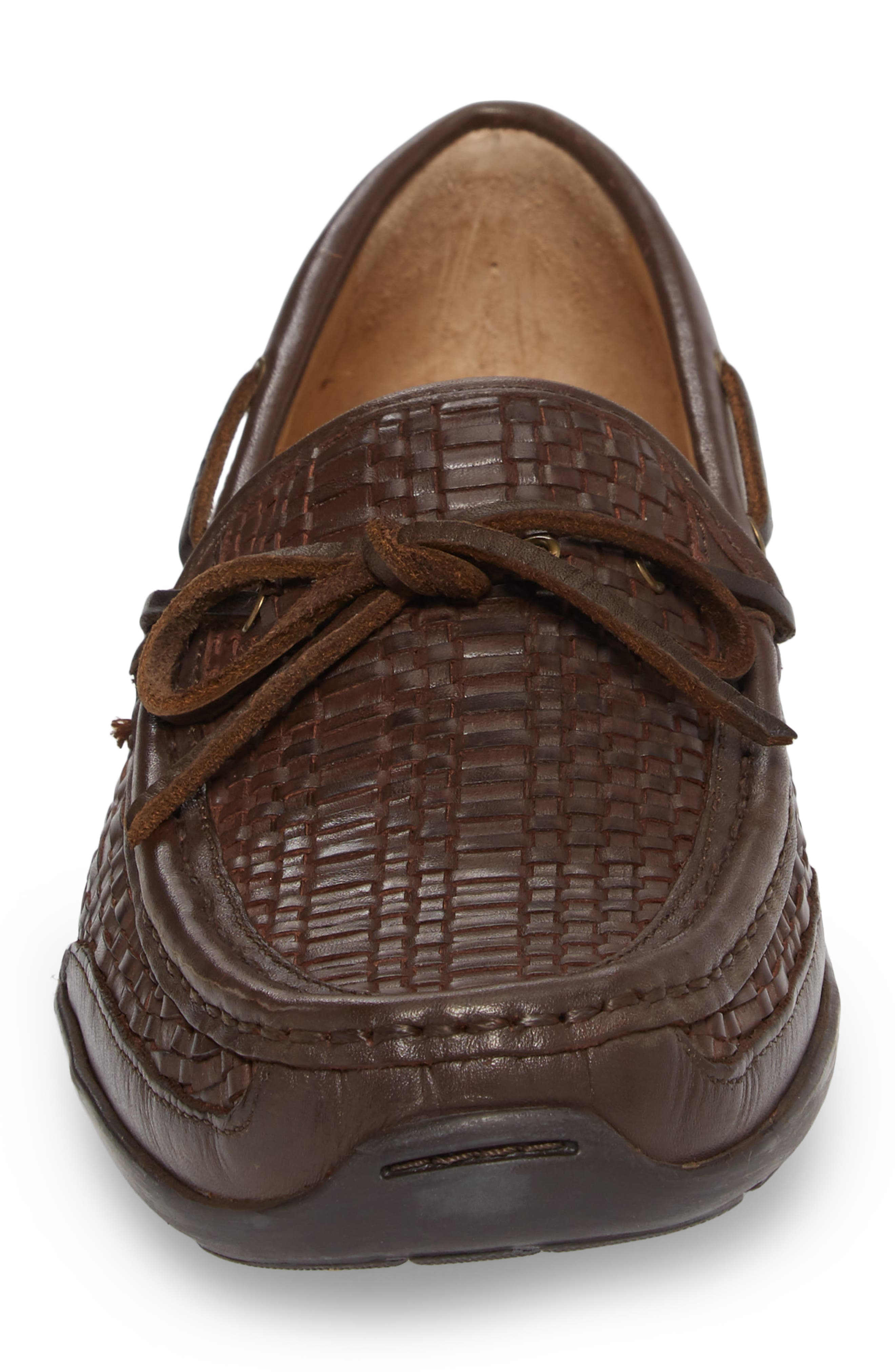 Tangier Driving Shoe,                             Alternate thumbnail 4, color,                             DARK BROWN WOVEN LEATHER