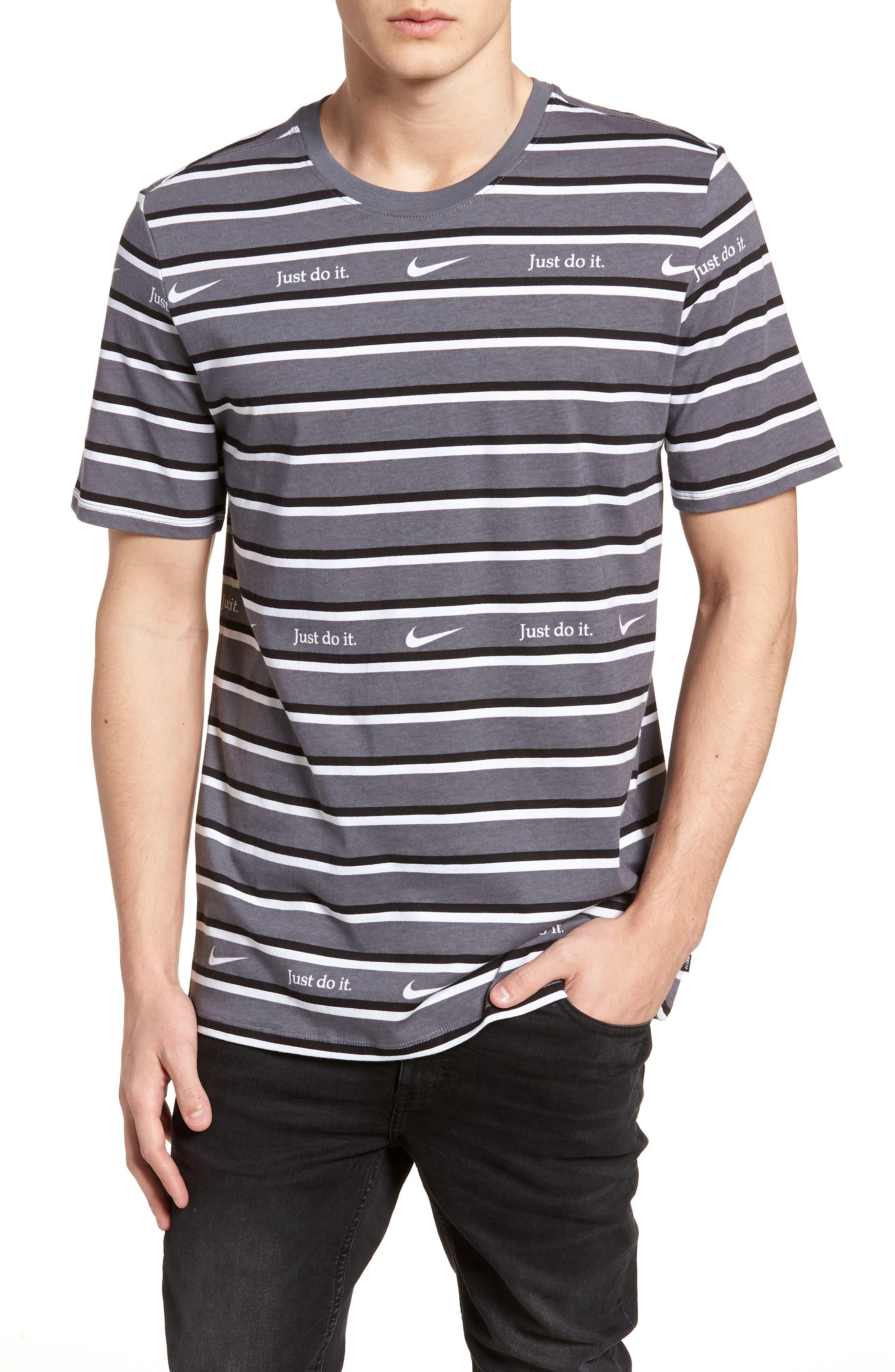Just Do It Stripe T-Shirt,                         Main,                         color, WHITE/ GUN SMOKE
