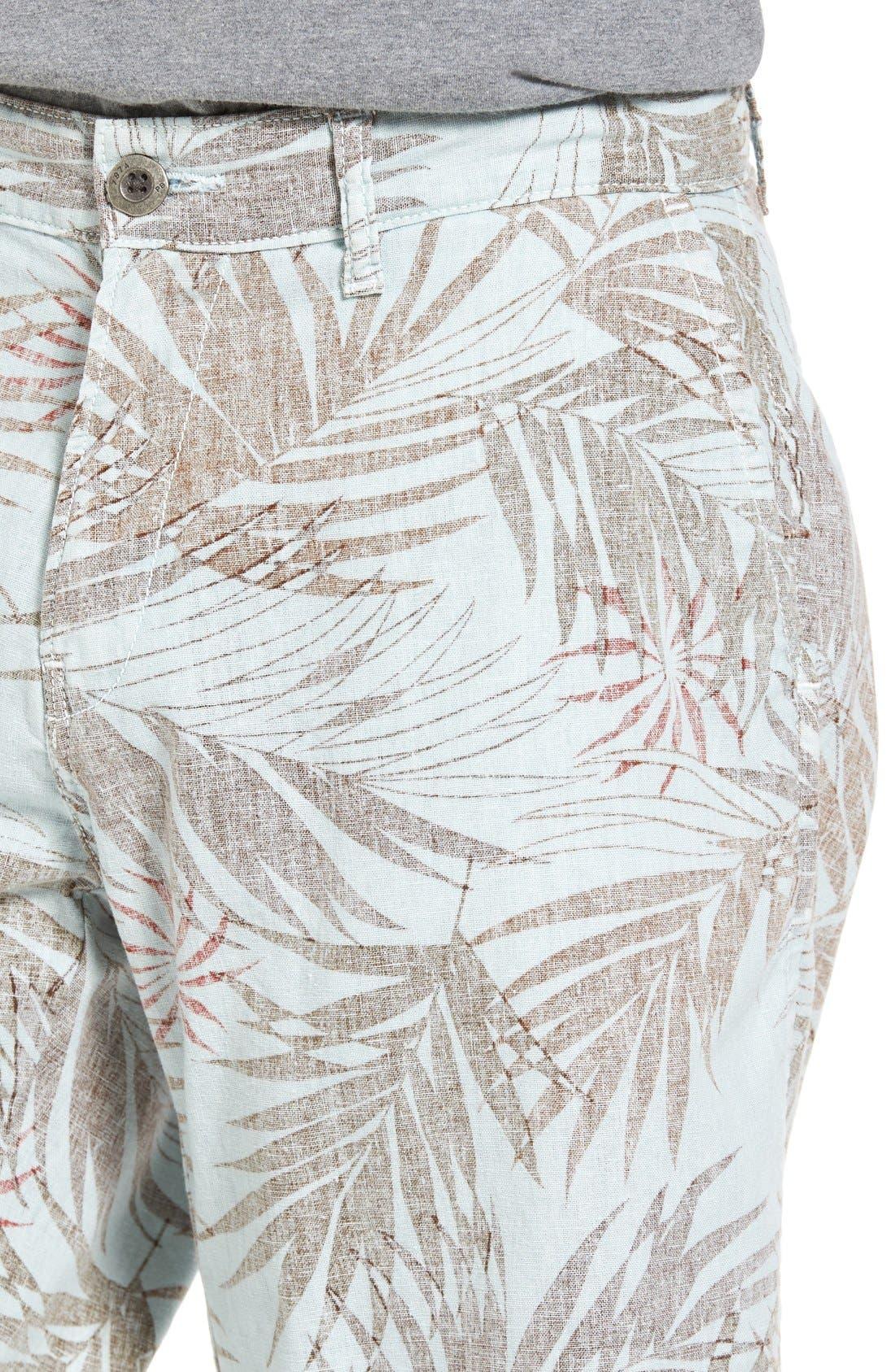 Havana Print Linen Shorts,                             Alternate thumbnail 4, color,
