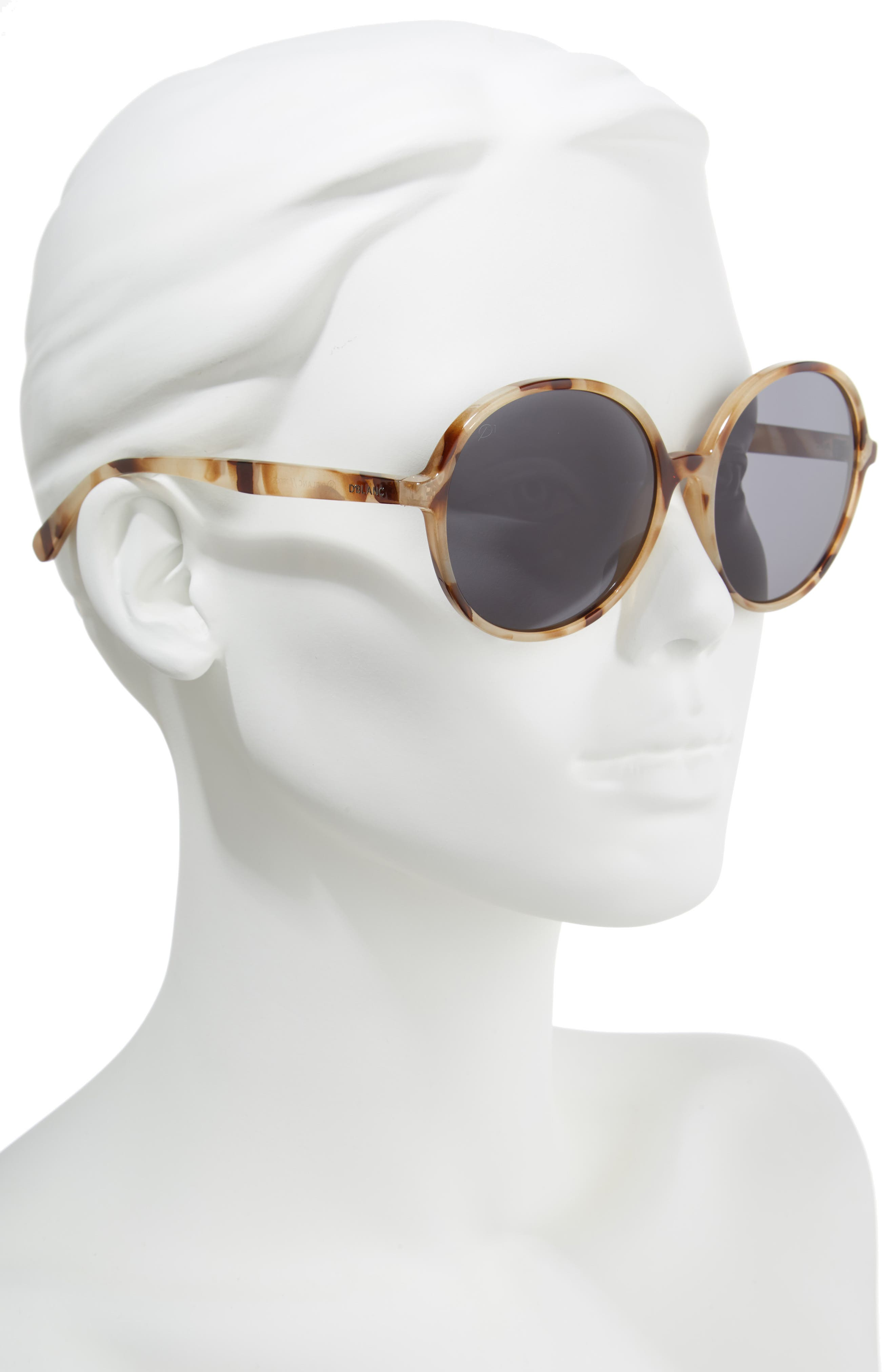 D'BLANC Prose 59mm Round Sunglasses,                             Alternate thumbnail 2, color,                             SNOW LEOPARD/ GREY POLAR