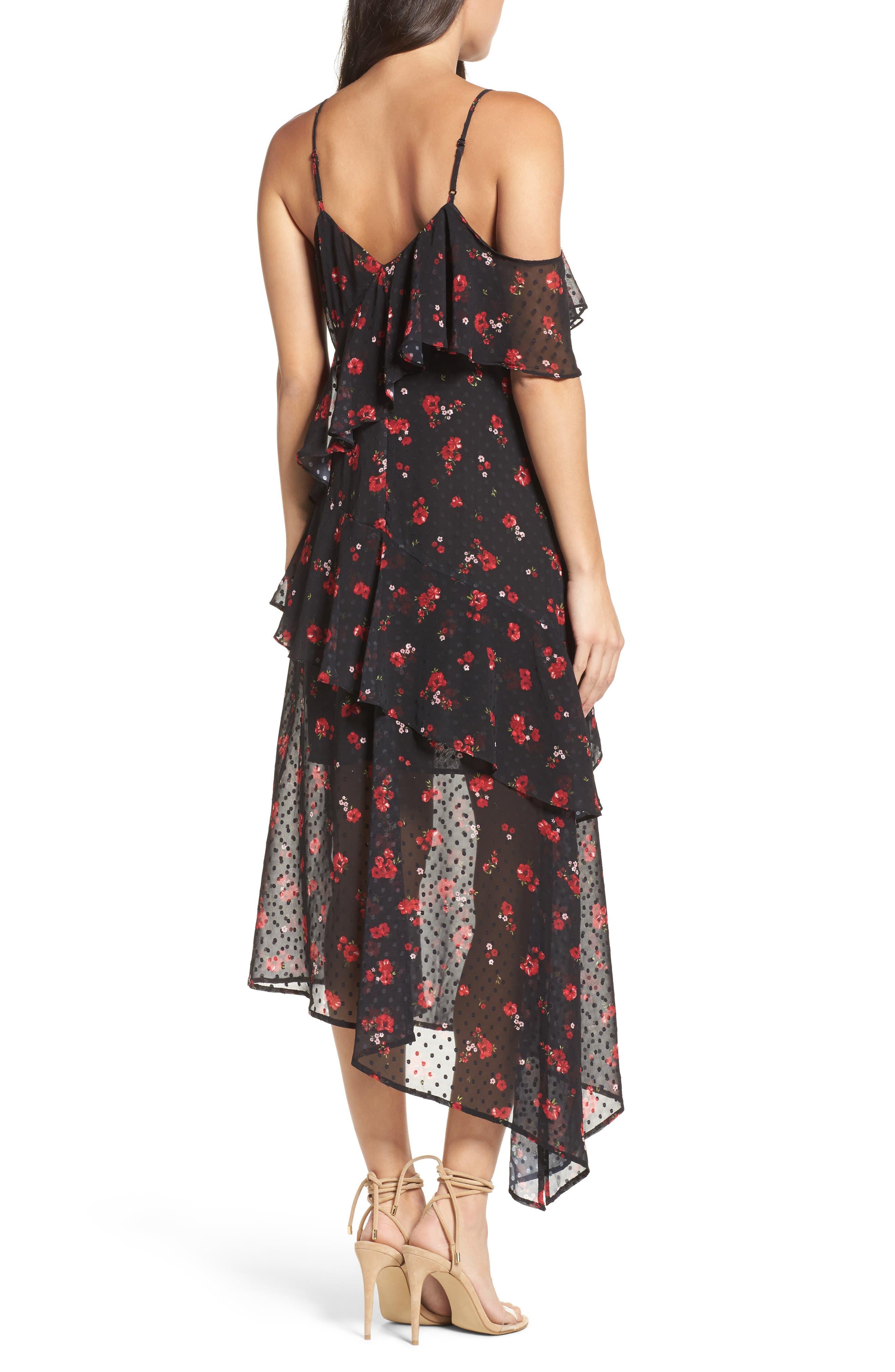 Poppy Ruffle Cold Shoulder Dress,                             Alternate thumbnail 2, color,                             008