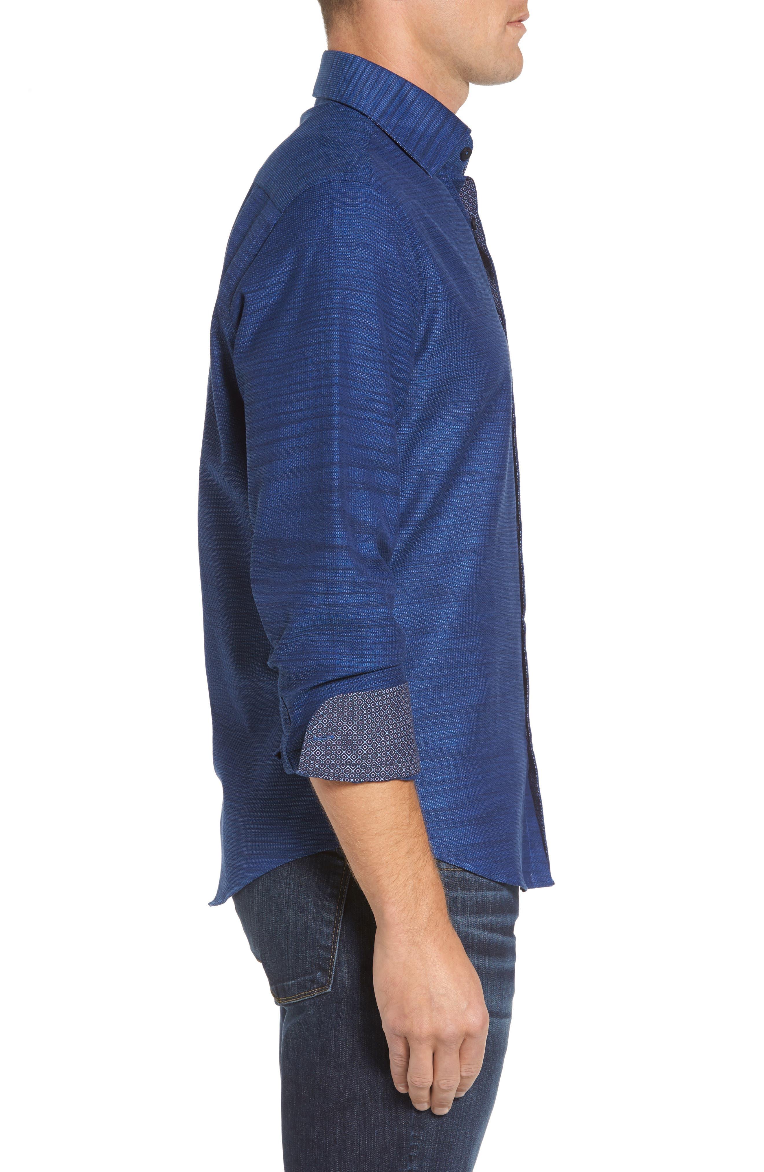 Slim Fit Mélange Textured Sport Shirt,                             Alternate thumbnail 3, color,                             430