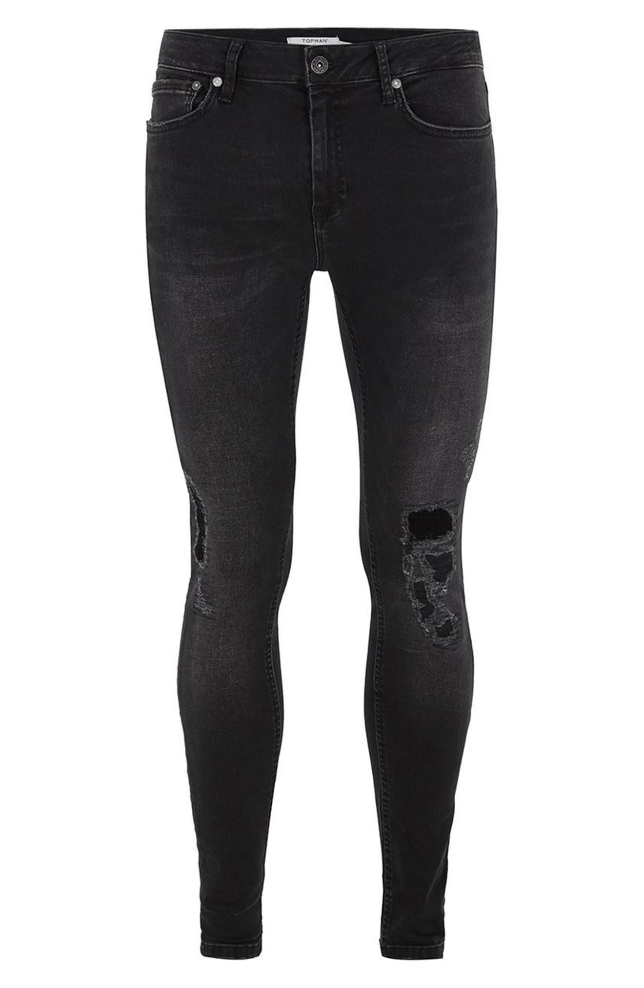 Repair Spray-On Skinny Fit Jeans,                             Alternate thumbnail 4, color,                             001