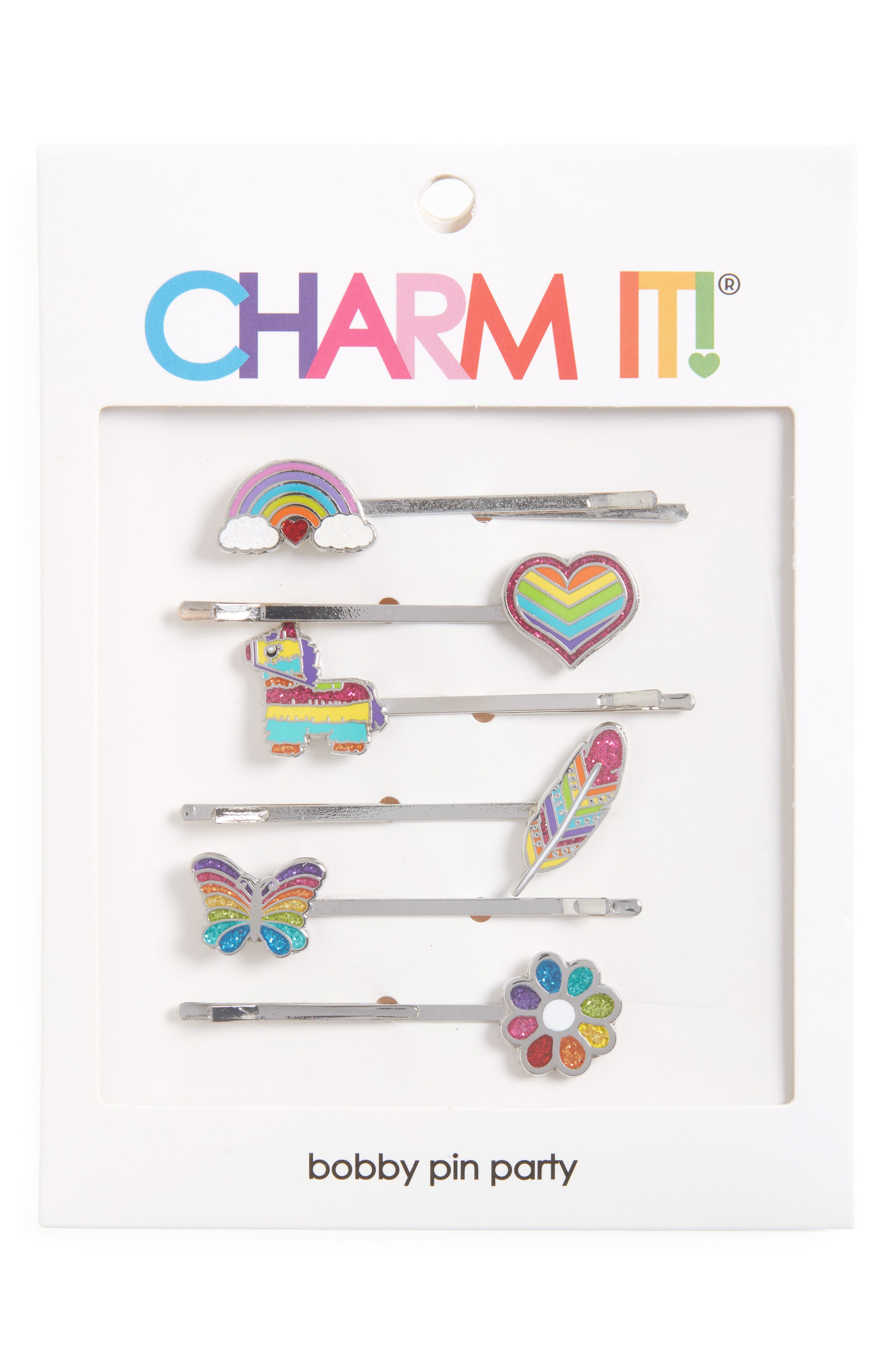 CHARM IT!<sup>®</sup> Party 6-Pack Rainbow Bobby Pins,                             Alternate thumbnail 2, color,