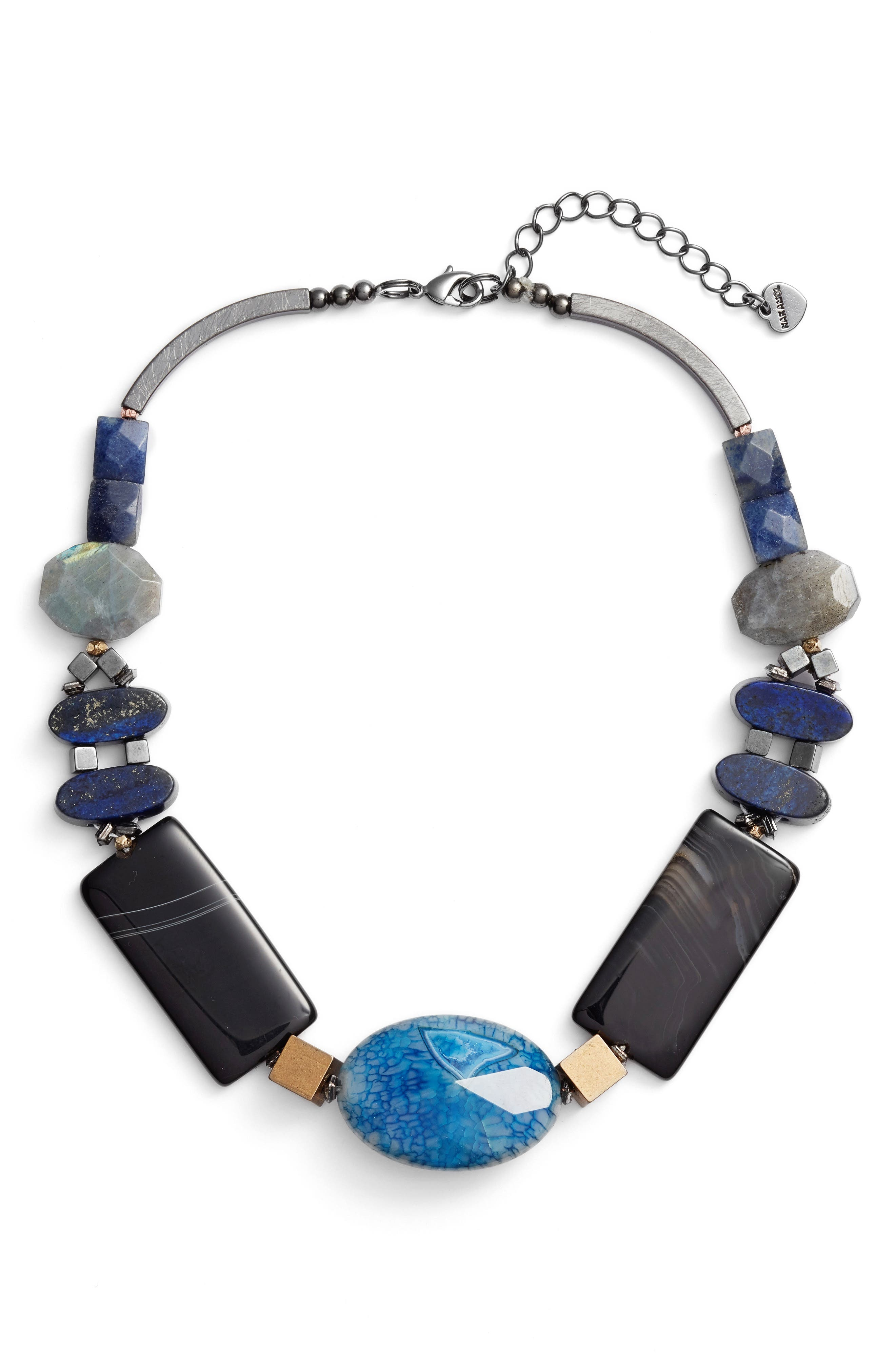 Chunky Agate & Lapis Short Necklace,                         Main,                         color, 400