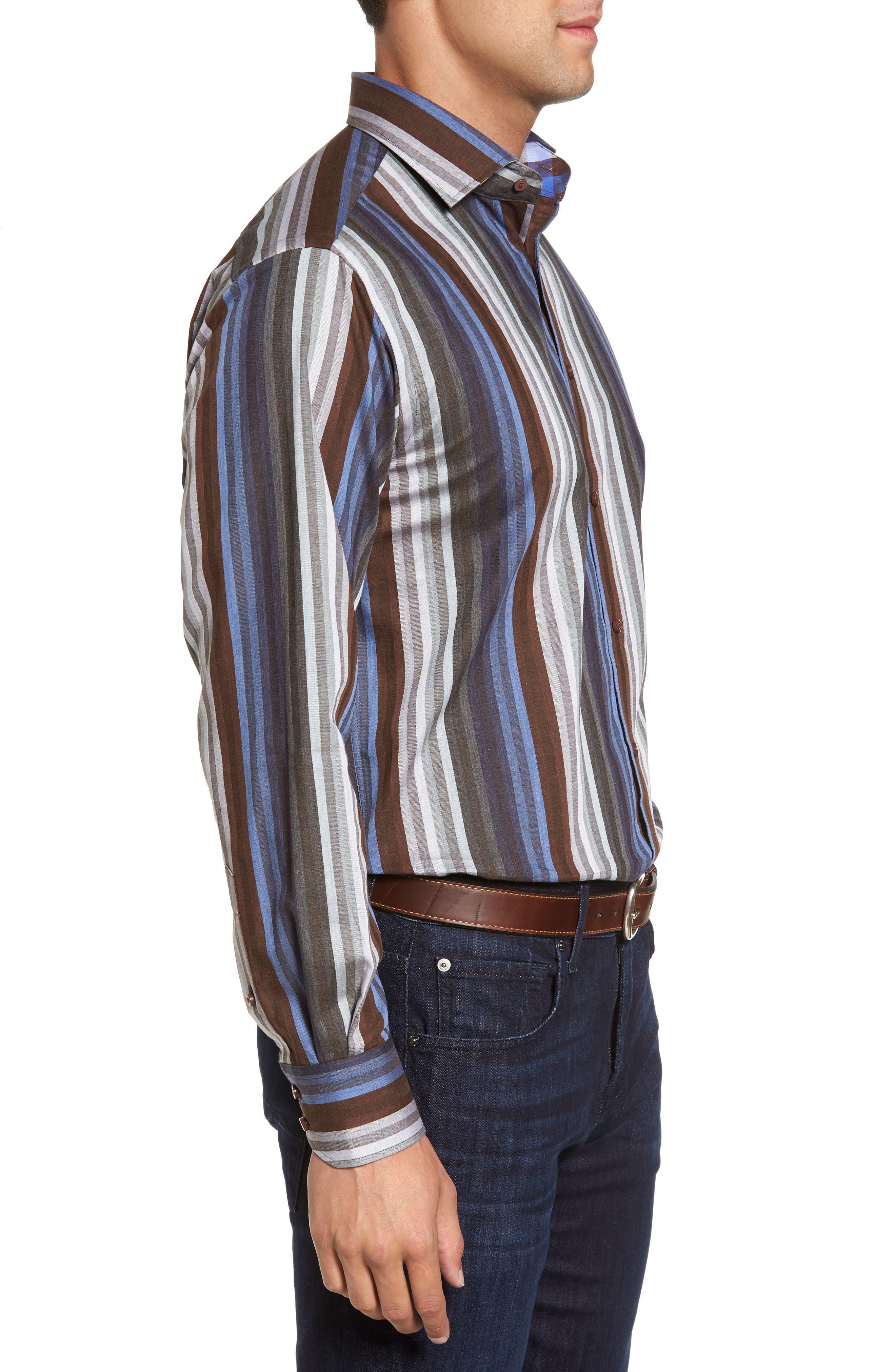 Regular Fit Multicolor Stripe Herringbone Sport Shirt,                             Alternate thumbnail 3, color,                             200