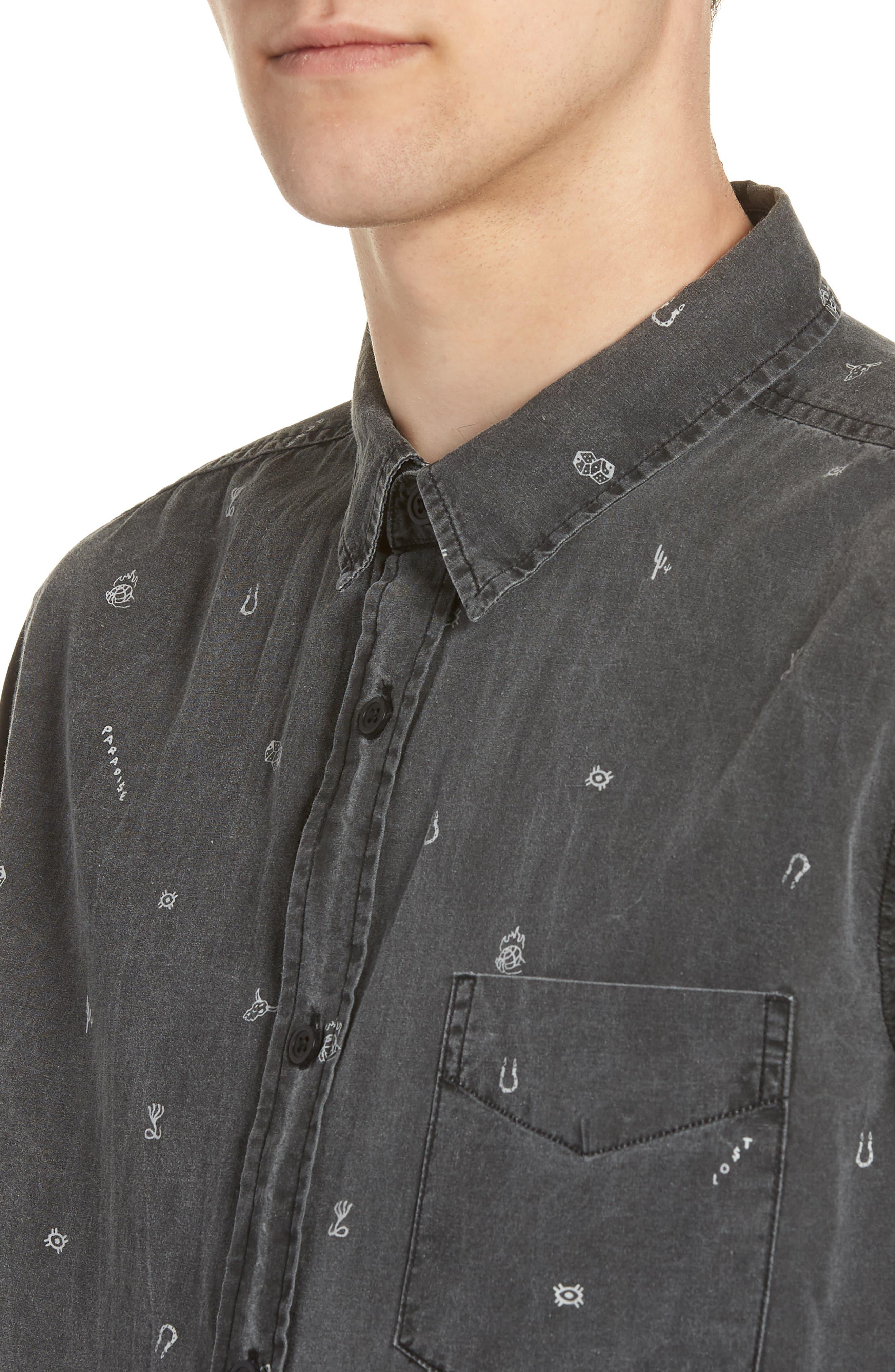 Vegas Woven Shirt,                             Alternate thumbnail 4, color,                             VINTAGE BLACK