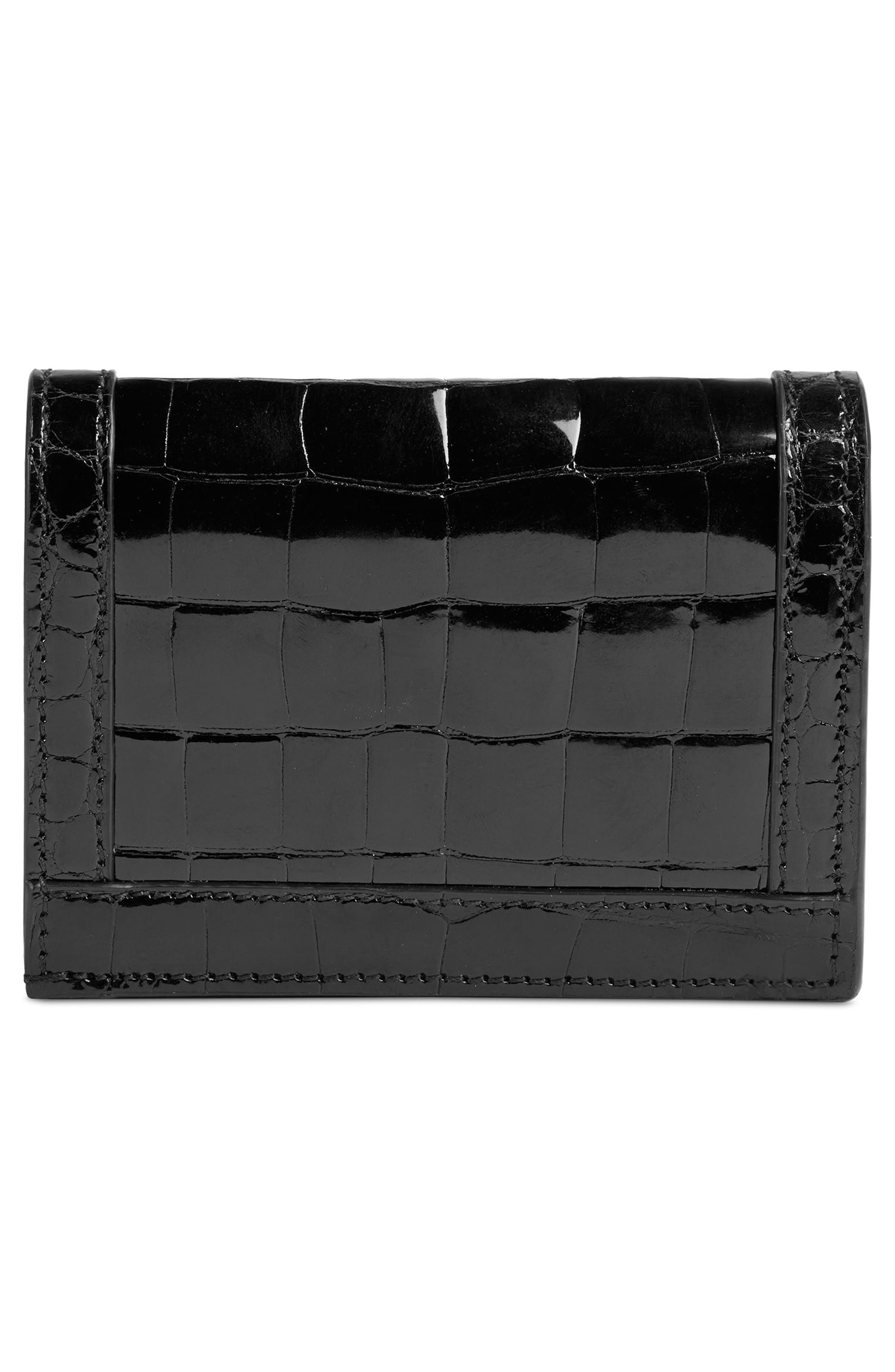 Ophidia Genuine Crocodile Card Case,                             Alternate thumbnail 3, color,                             NERO/ NERO