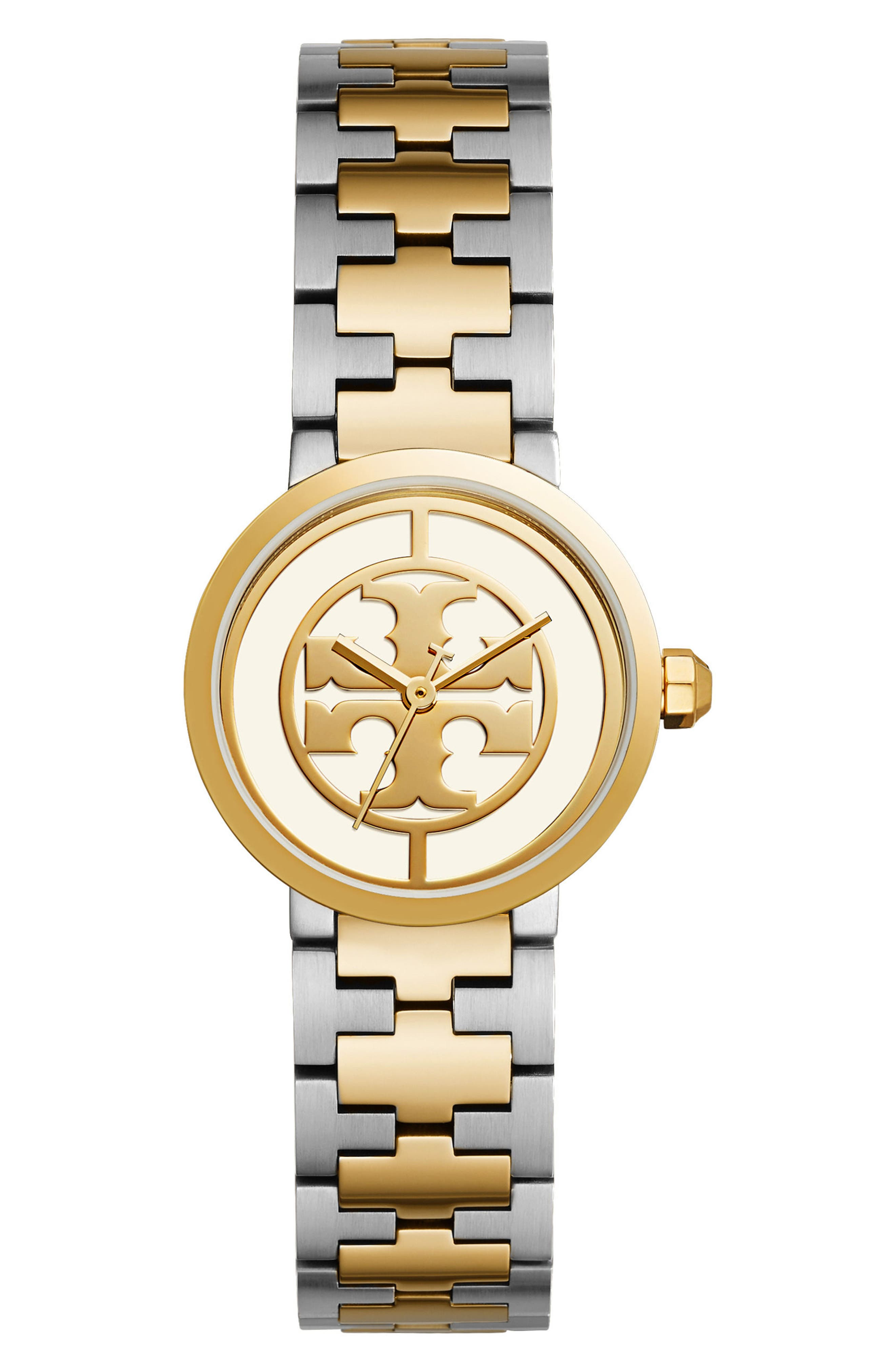Reva Logo Dial Bracelet Watch, 28mm,                             Main thumbnail 1, color,                             SILVER/ IVORY/ GOLD
