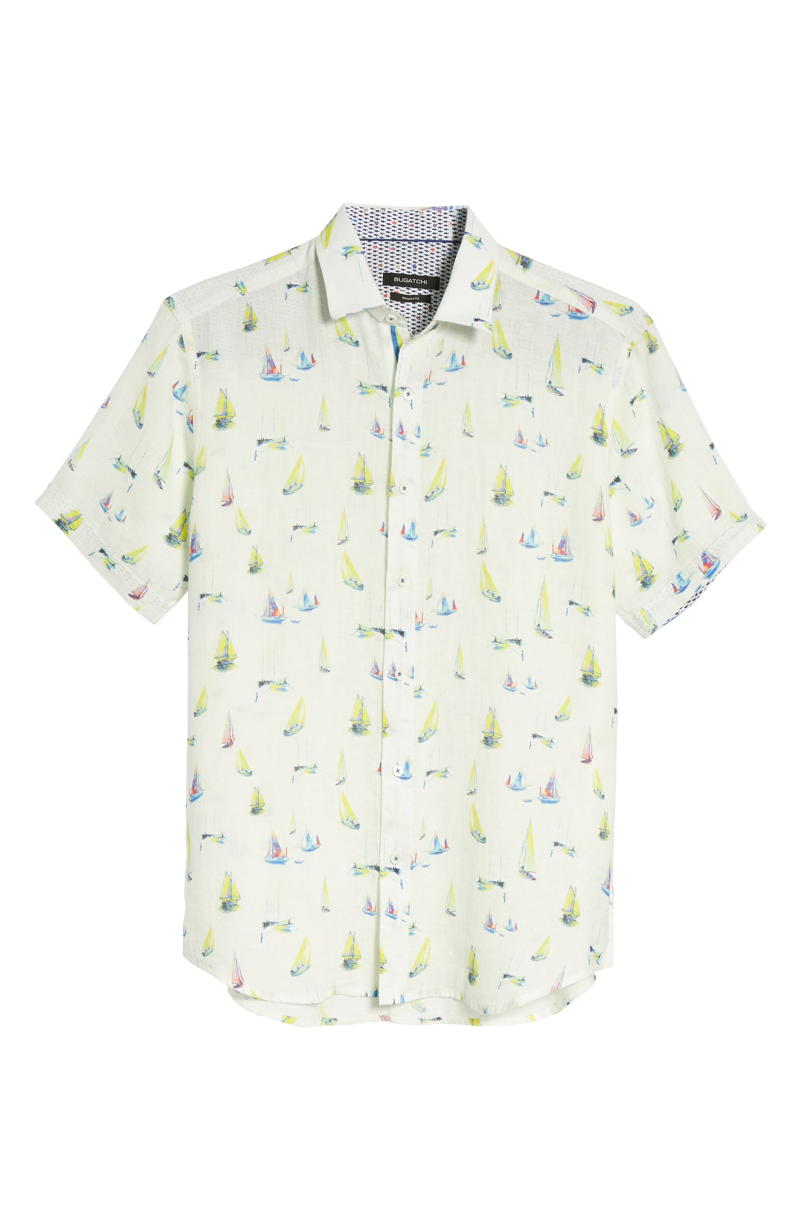 Shaped Fit Sailboat Linen Sport Shirt,                             Alternate thumbnail 6, color,                             102