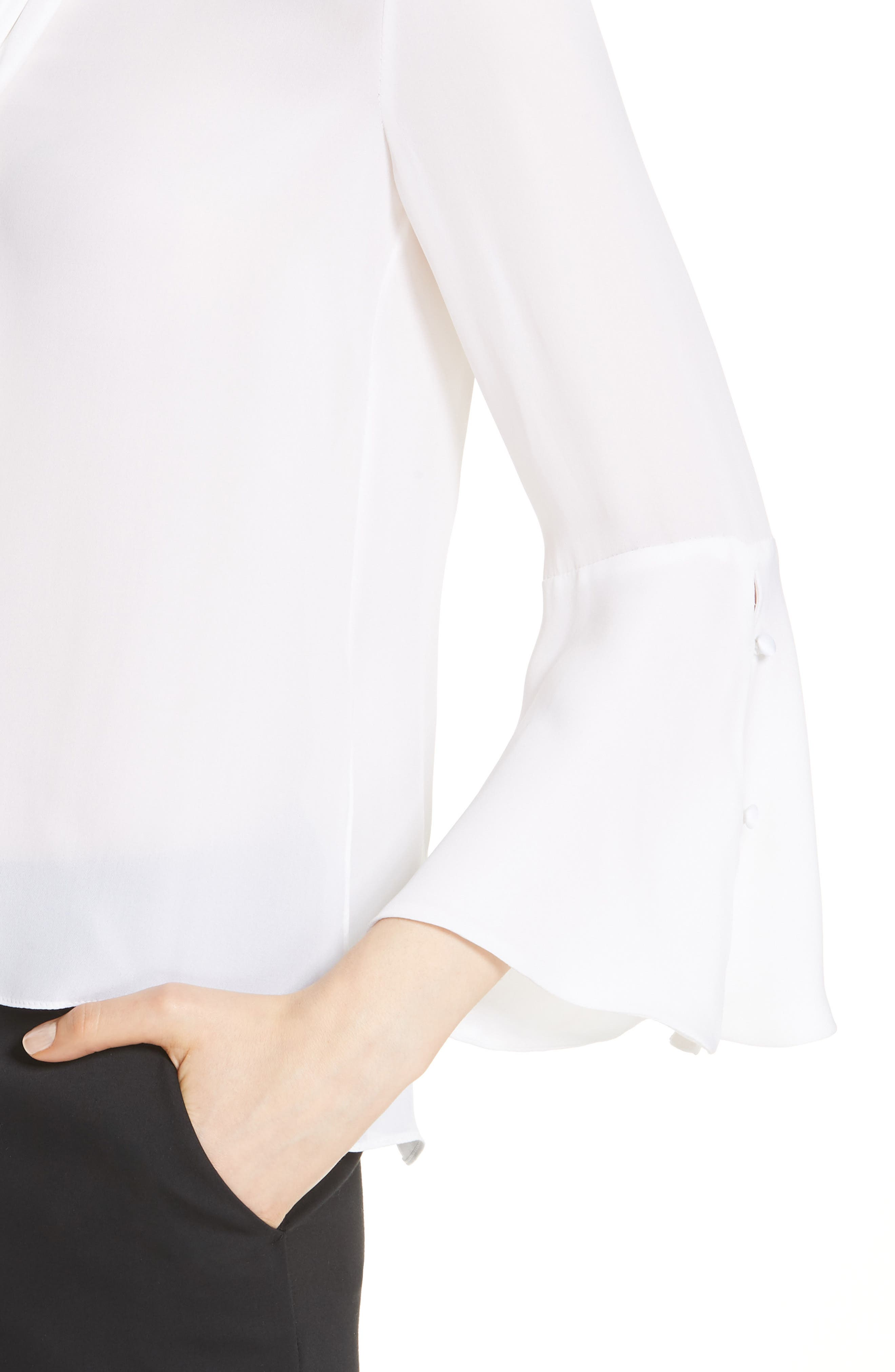 Meredith Tie Neck Silk Blouse,                             Alternate thumbnail 4, color,                             WHITE