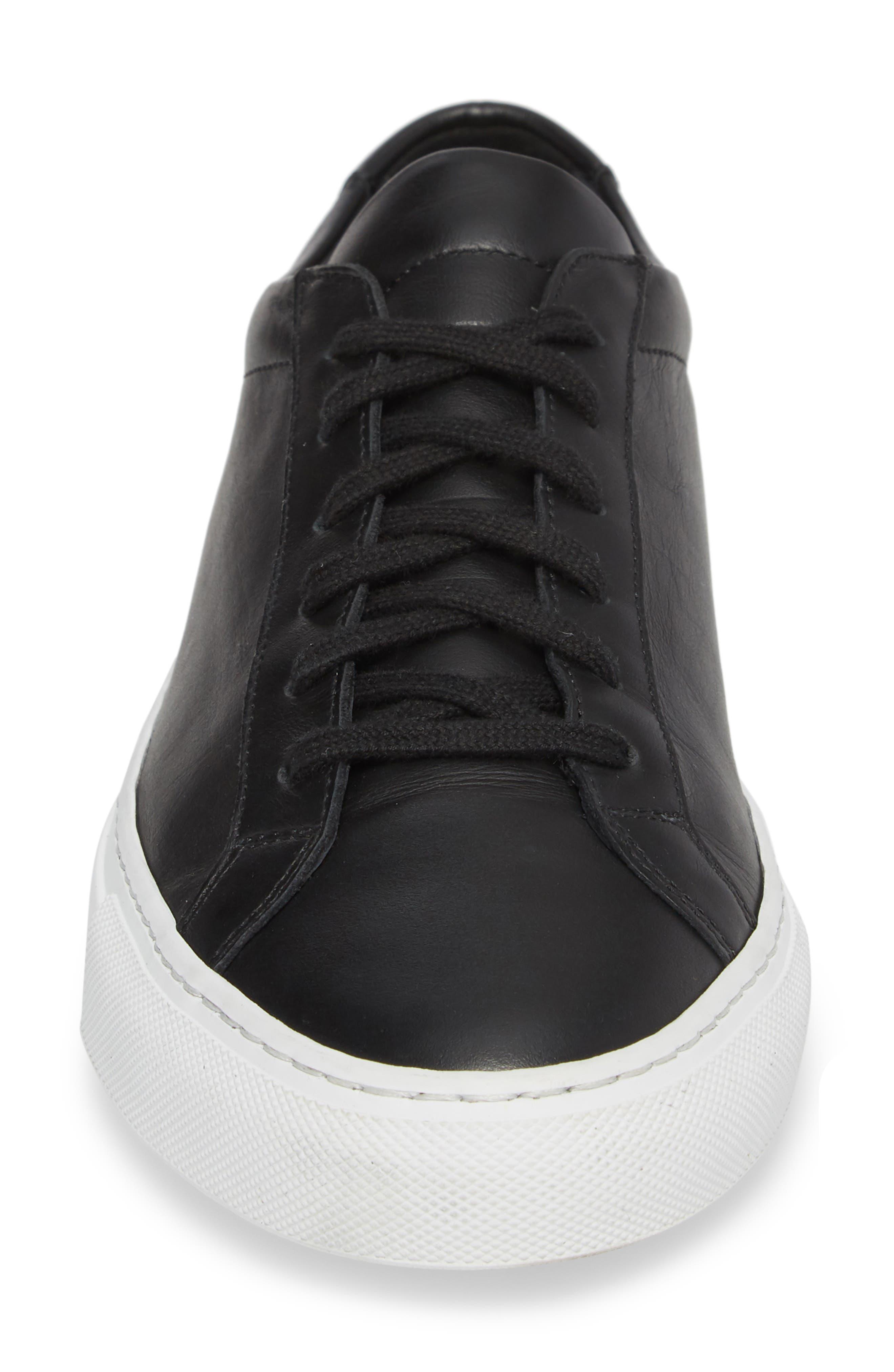 Achilles Low Sneaker,                             Alternate thumbnail 4, color,                             BLACK LEATHER