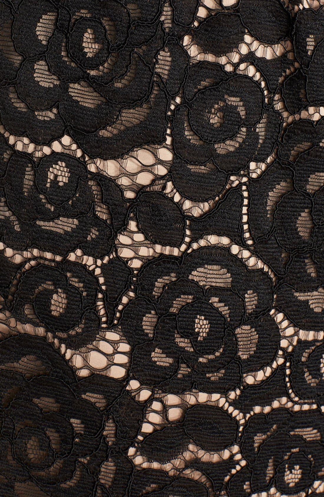 Off the Shoulder Lace Sheath Dress,                             Alternate thumbnail 2, color,                             BLACK/ NUDE