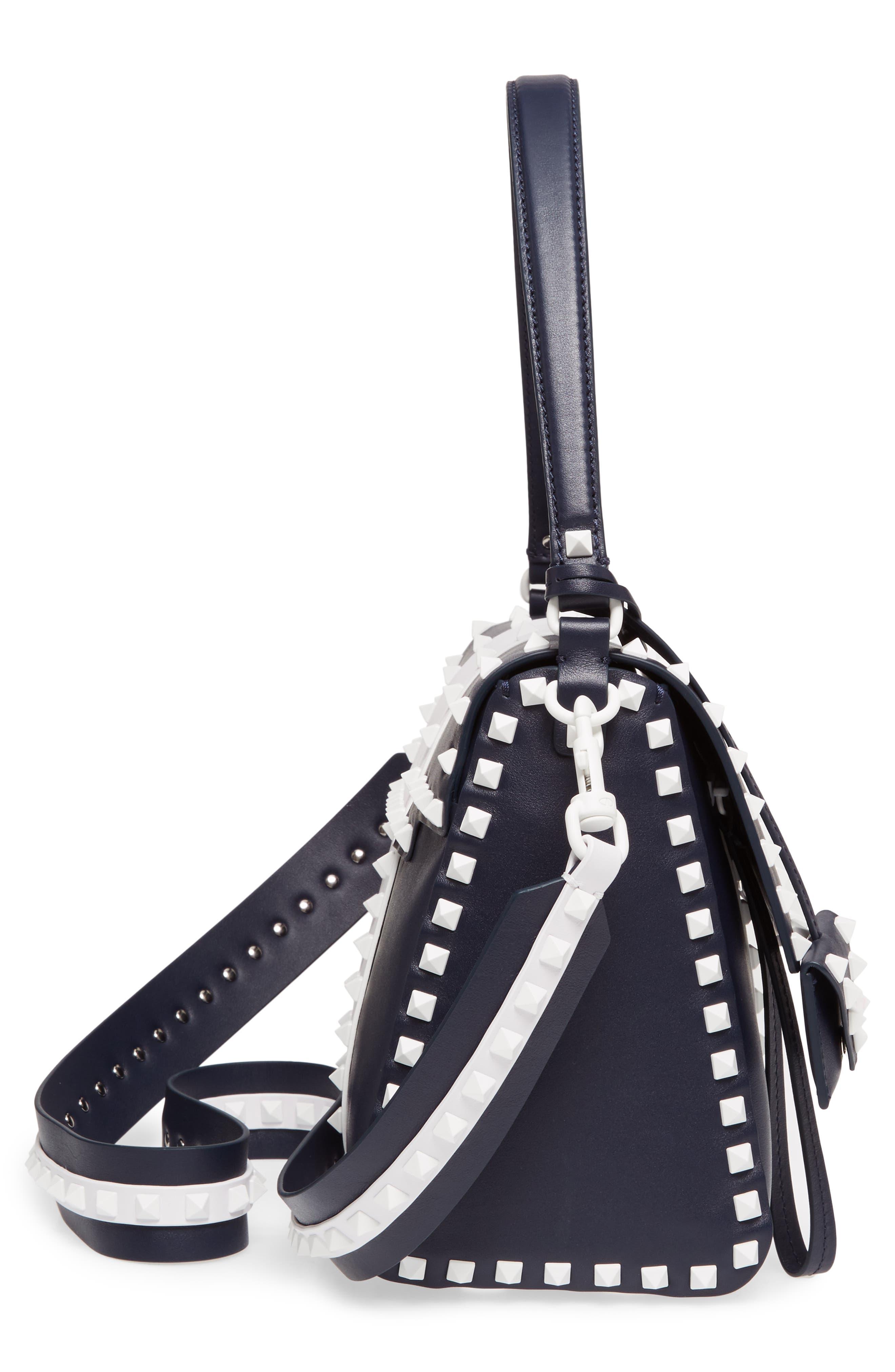 Rockstud Calfskin Top Handle Bag,                             Alternate thumbnail 5, color,                             400