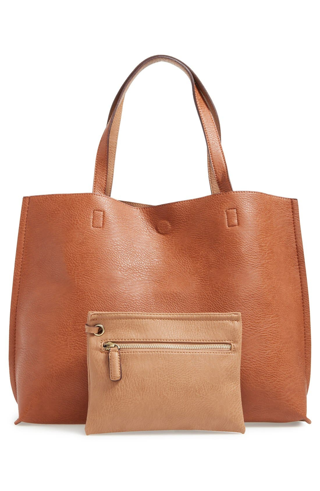 STREET LEVEL Reversible Faux Leather Tote & Wristlet, Main, color, COGNAC