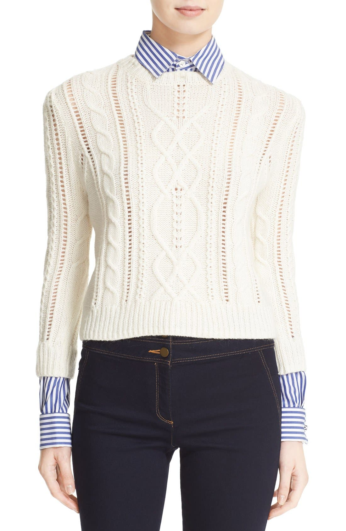 Veronica Beard Surrey Sweater With Detachable Collar Cuffs Nordstrom